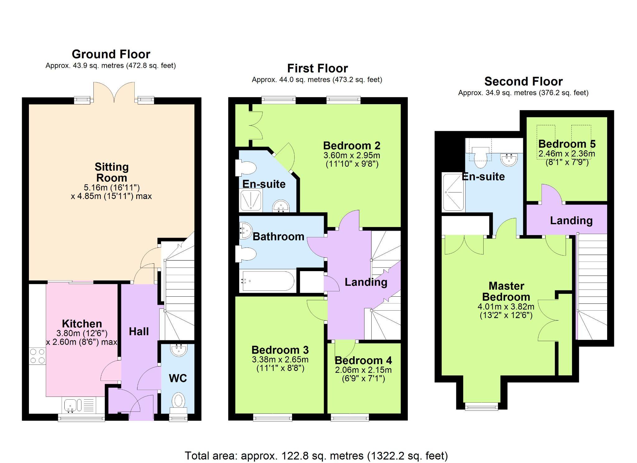 5 Bedroom Town House To Rent - Floorplan 1