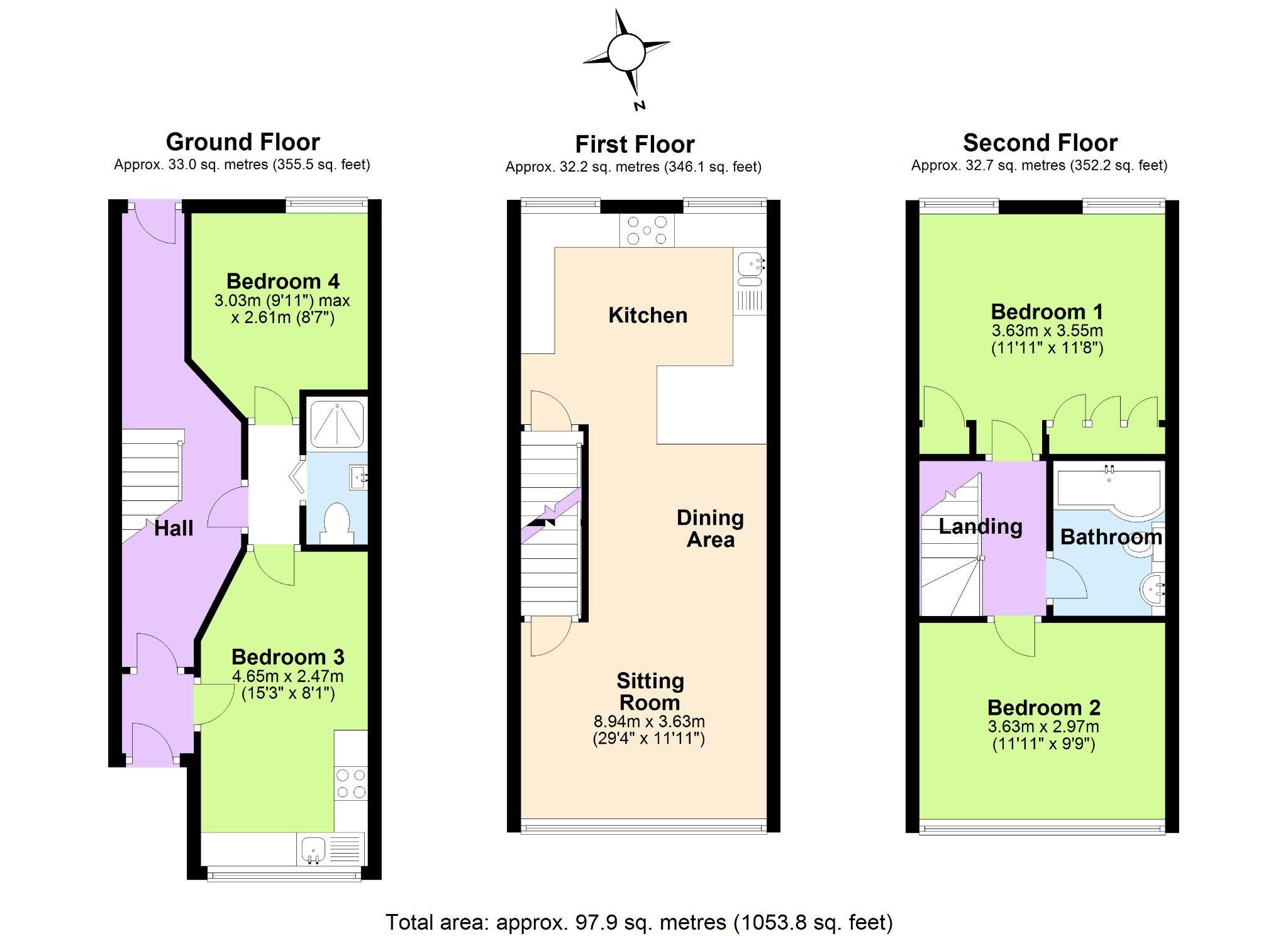4 Bedroom Town House For Sale - Floorplan 1