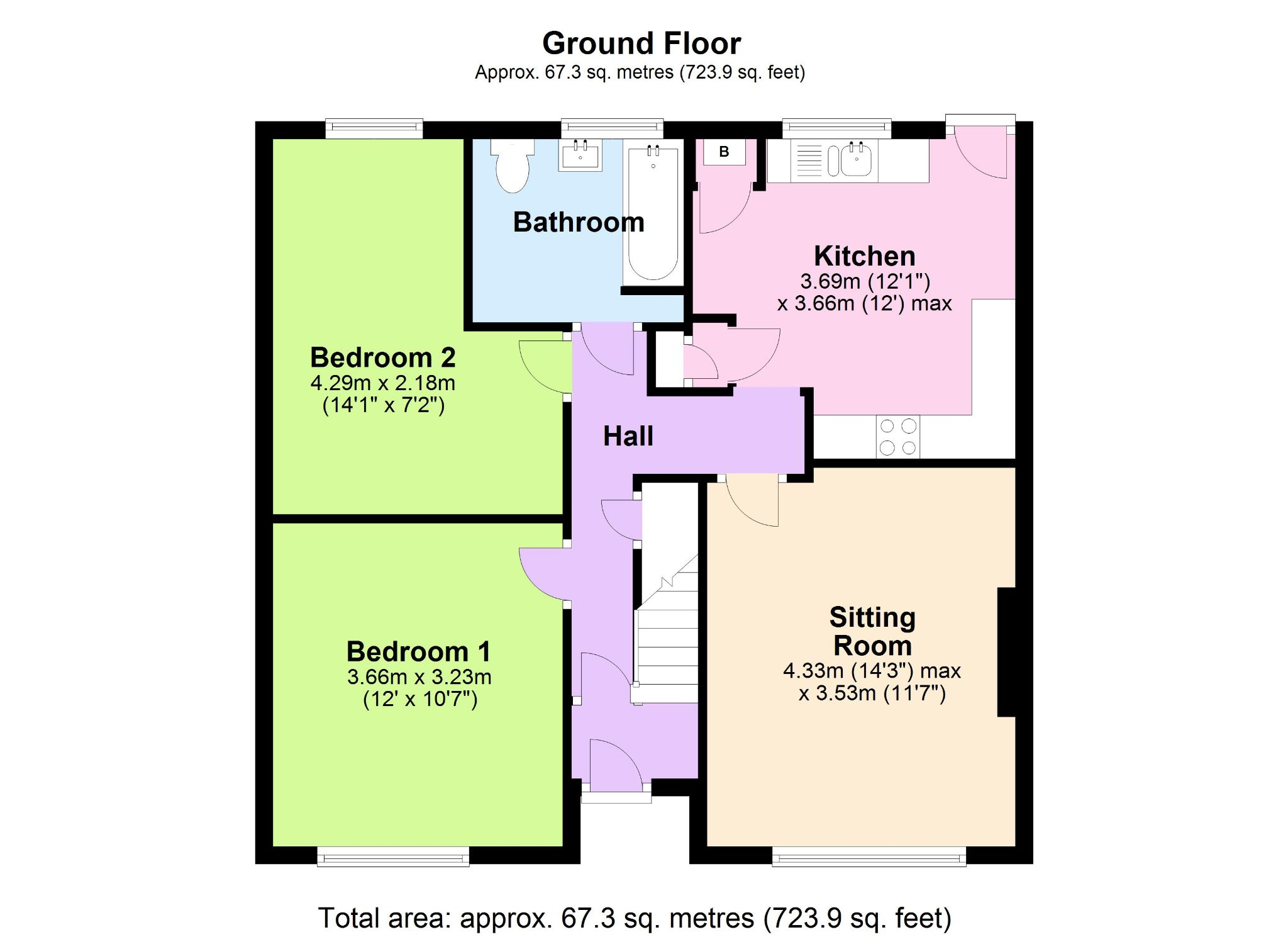 2 Bedroom Ground Floor Flat/apartment For Sale - Floorplan 1