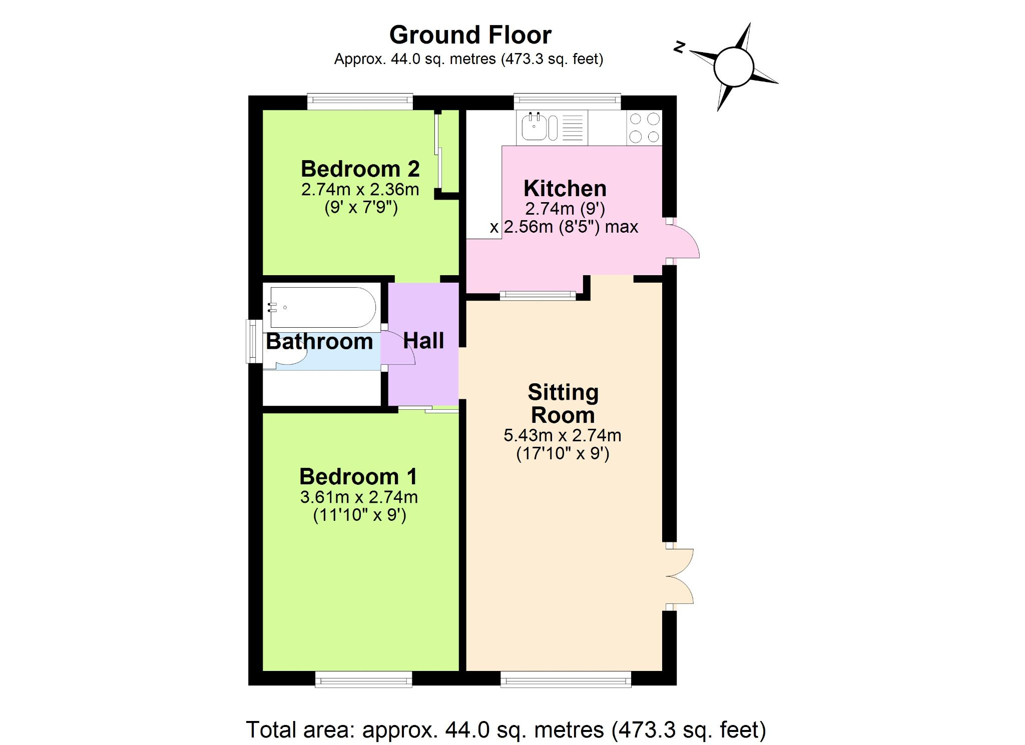 2 Bedroom Park Home House For Sale - Floorplan 1