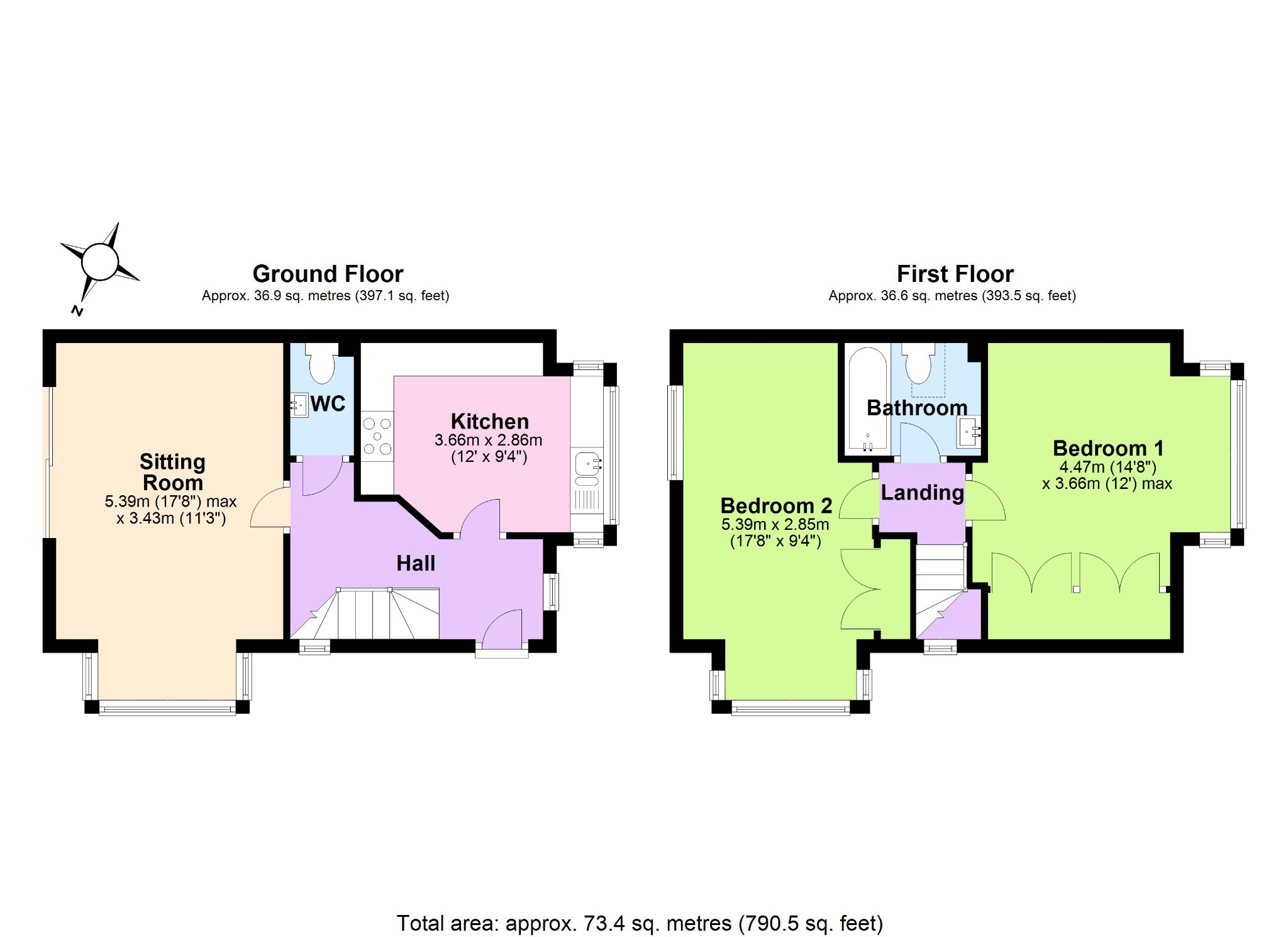 2 Bedroom Detached House For Sale - Floorplan 1