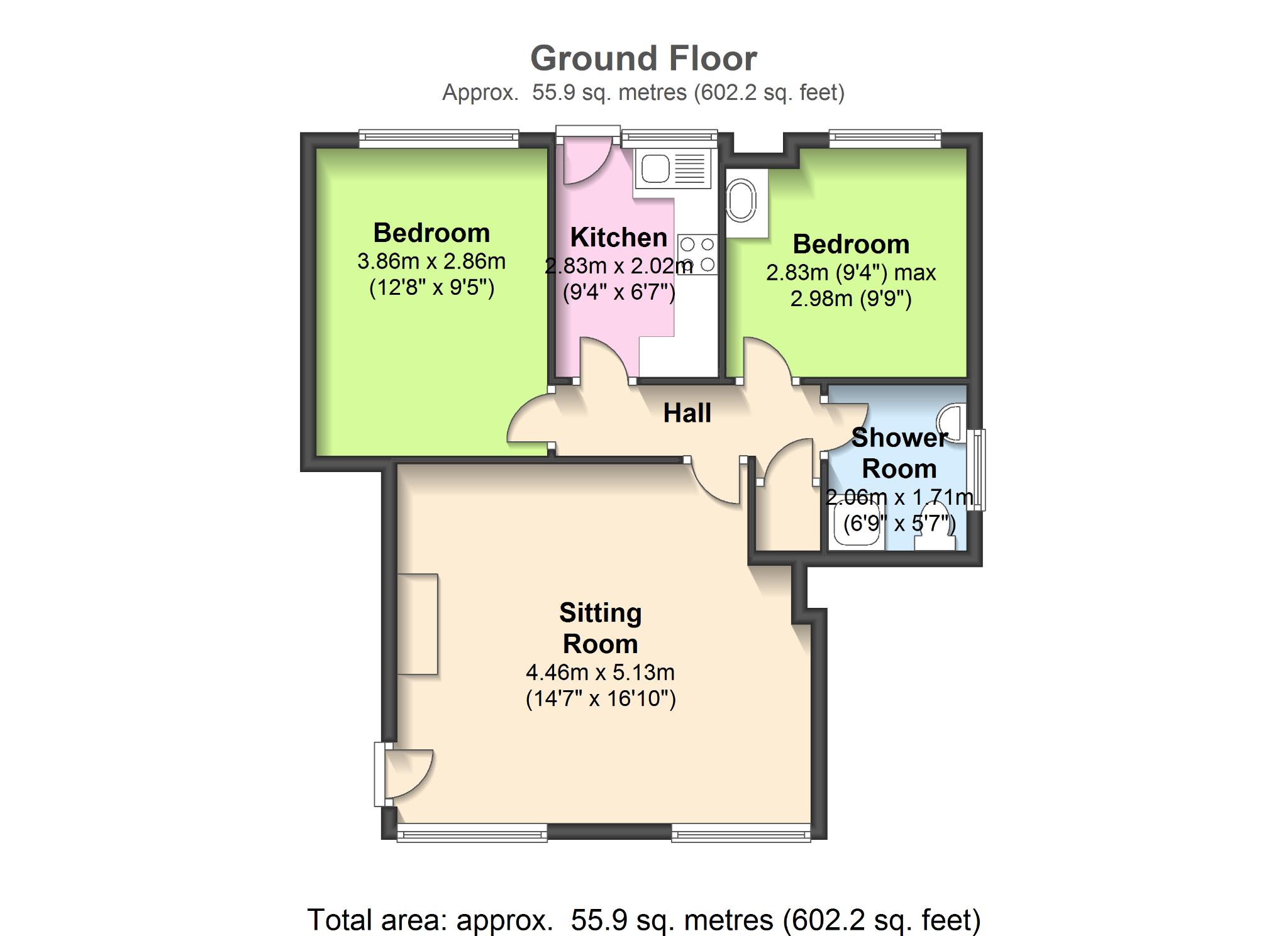 2 Bedroom Apartment Flat/apartment To Rent - Floorplan 1