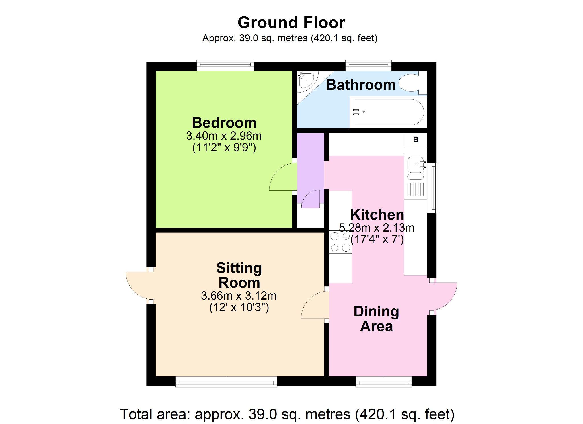 1 Bedroom Park Home House For Sale - Floorplan 1