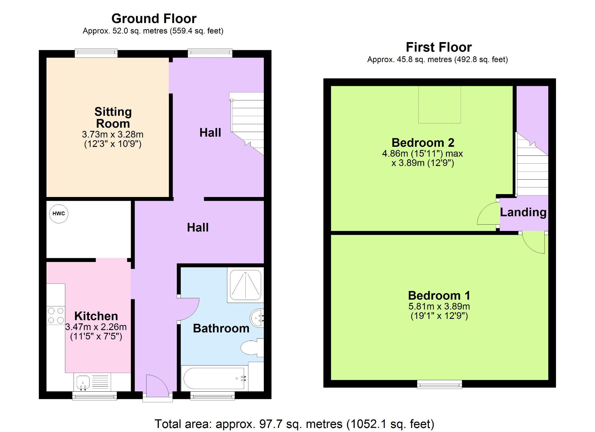 2 Bedroom Maisonette Flat/apartment For Sale - Floorplan 1