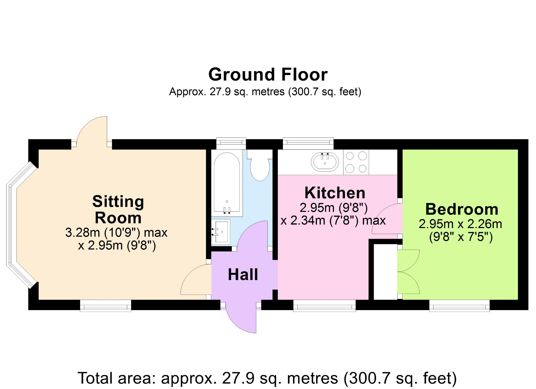 1 Bedroom Park Home House For Sale - Floorplan 1