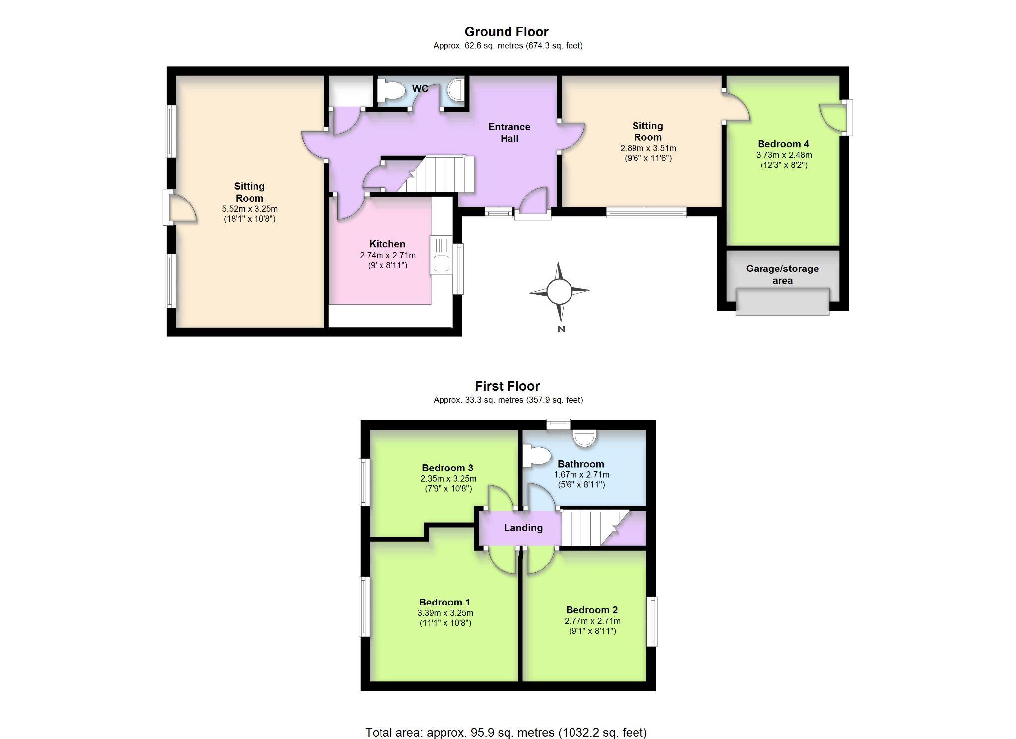 4 Bedroom End Terraced House For Sale - Floorplan 1