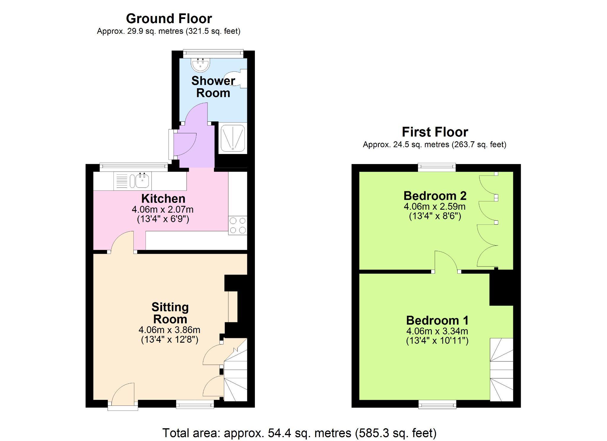 2 Bedroom Cottage House To Rent - Floorplan 1