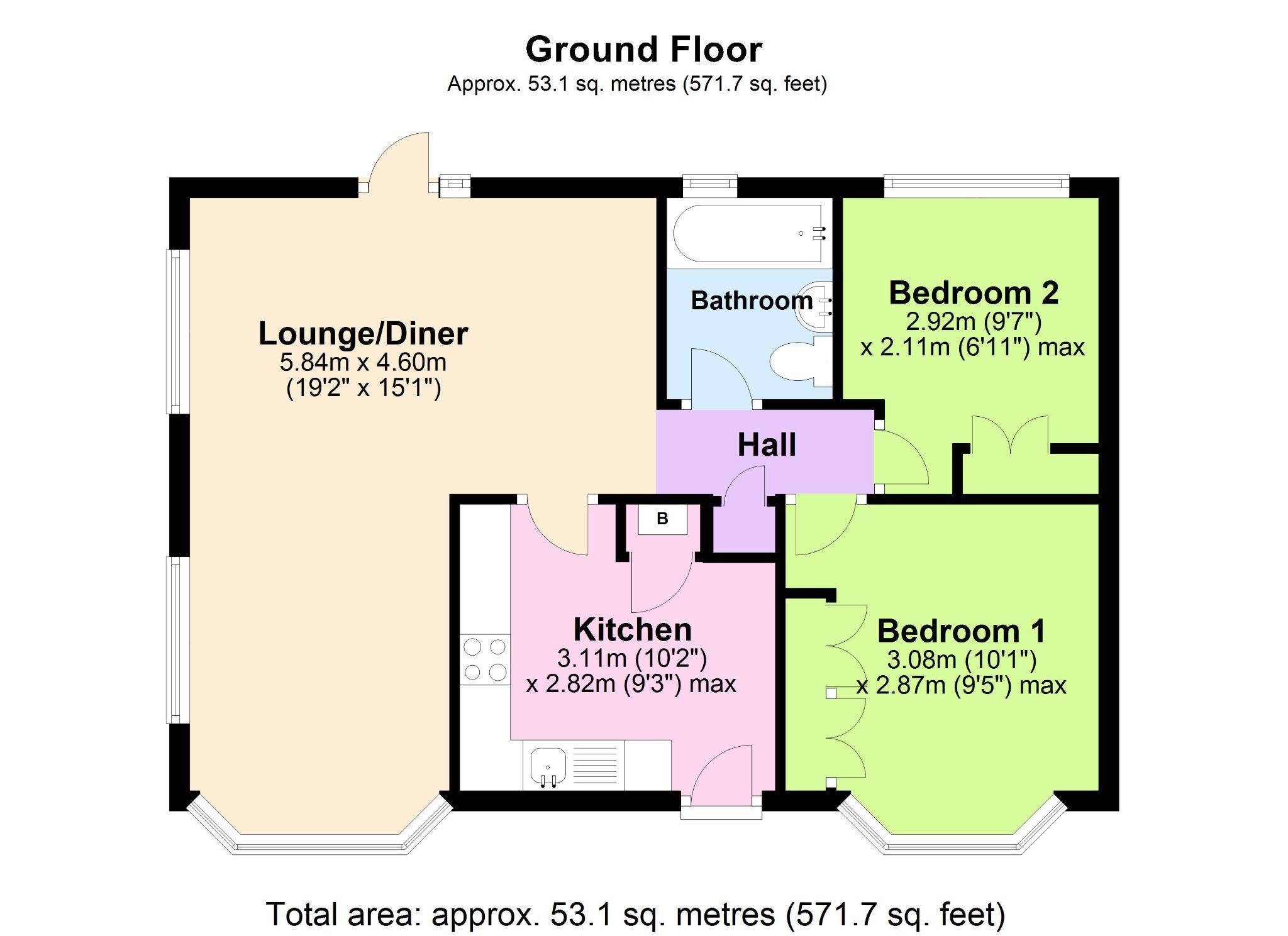 2 Bedroom Park Home House For Sale - Floorplan 1