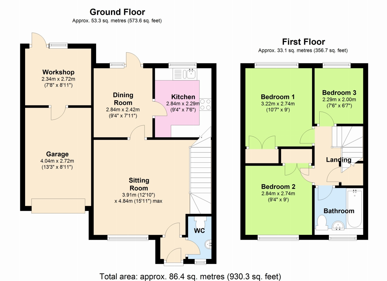3 Bedroom End Terraced House To Rent - Floorplan 1