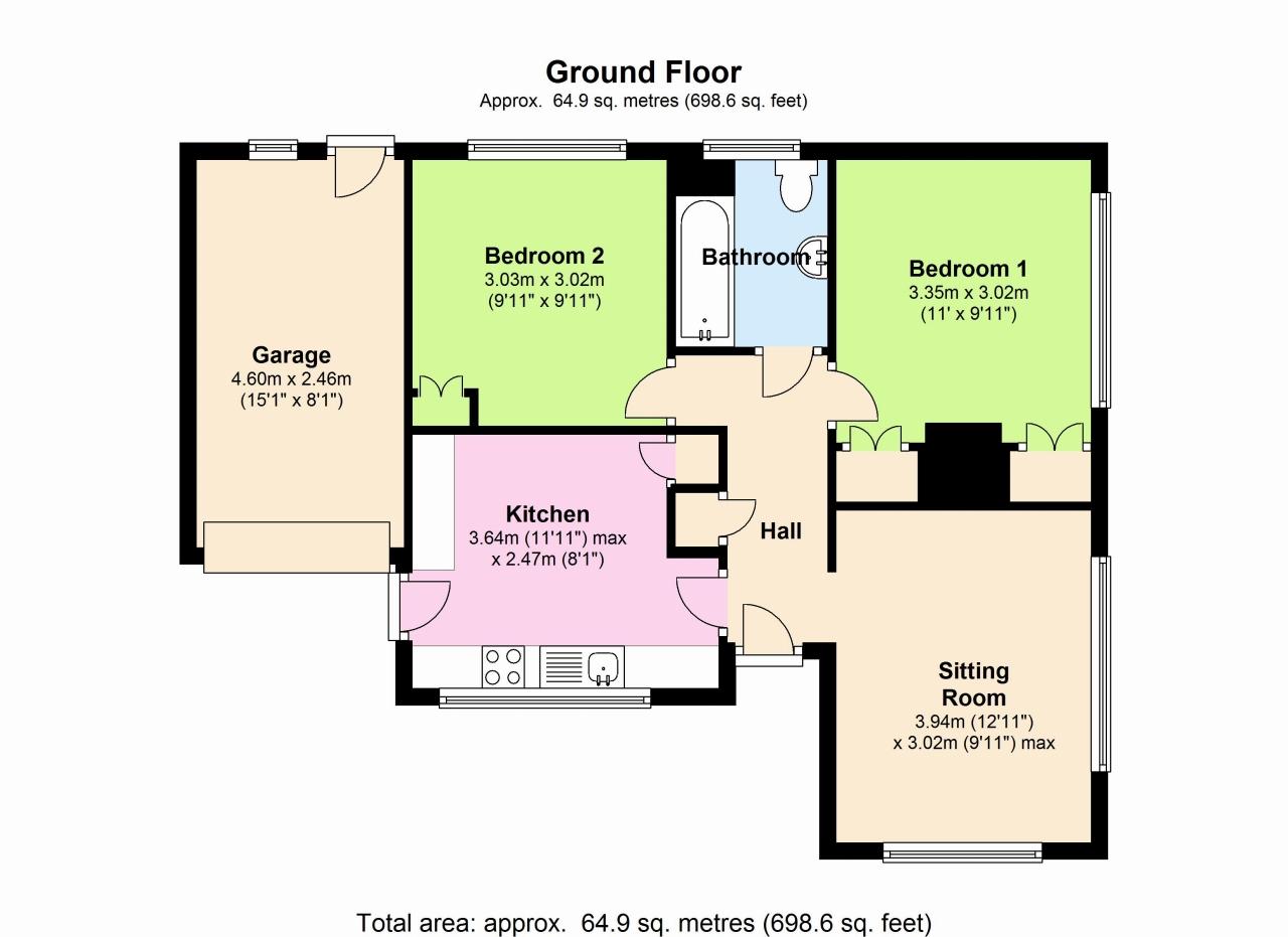 2 Bedroom Detached Bungalow To Rent - Floorplan 1