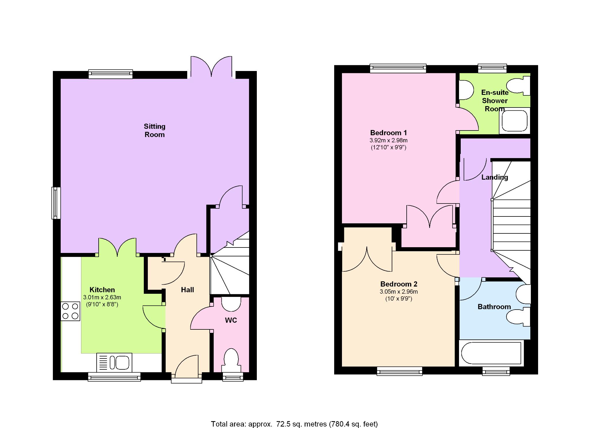 2 Bedroom End Terraced House To Rent - Floorplan 1