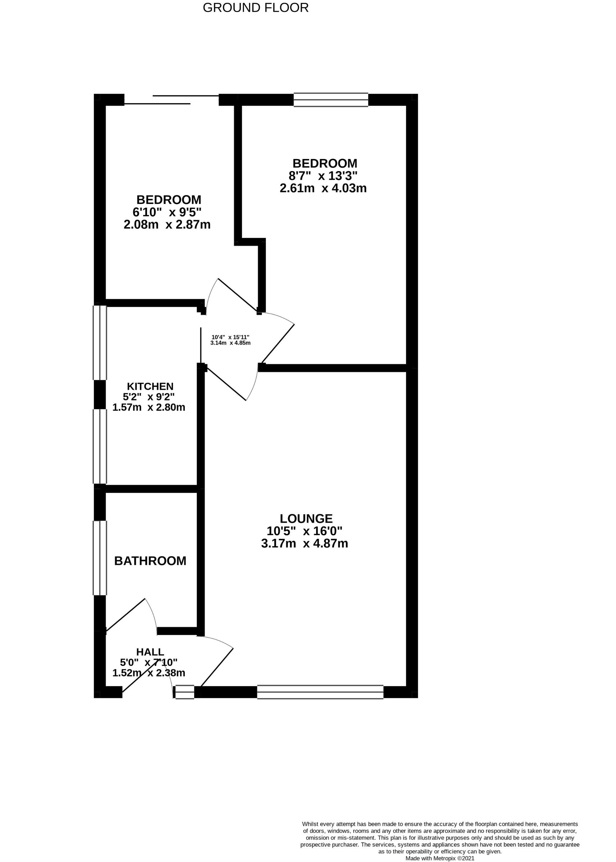 2 bedroom semi-detached bungalow Sale Agreed in Bishop Auckland - Floorplan 1.