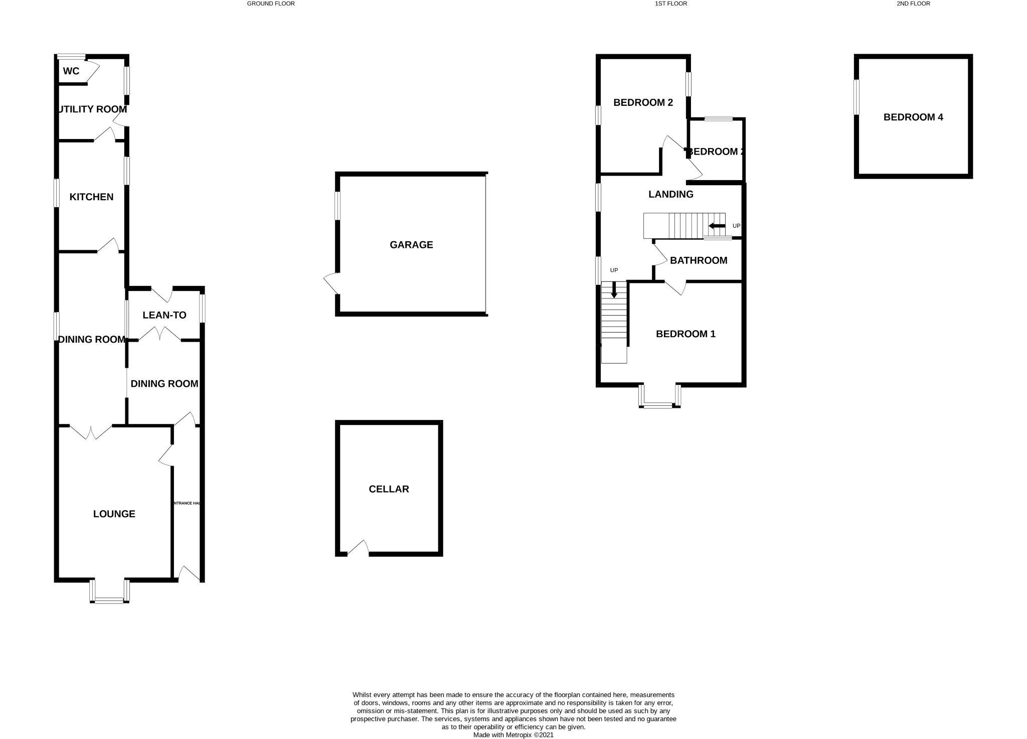 4 bedroom end terraced house For Sale in Bishop Auckland - Floorplan 1.