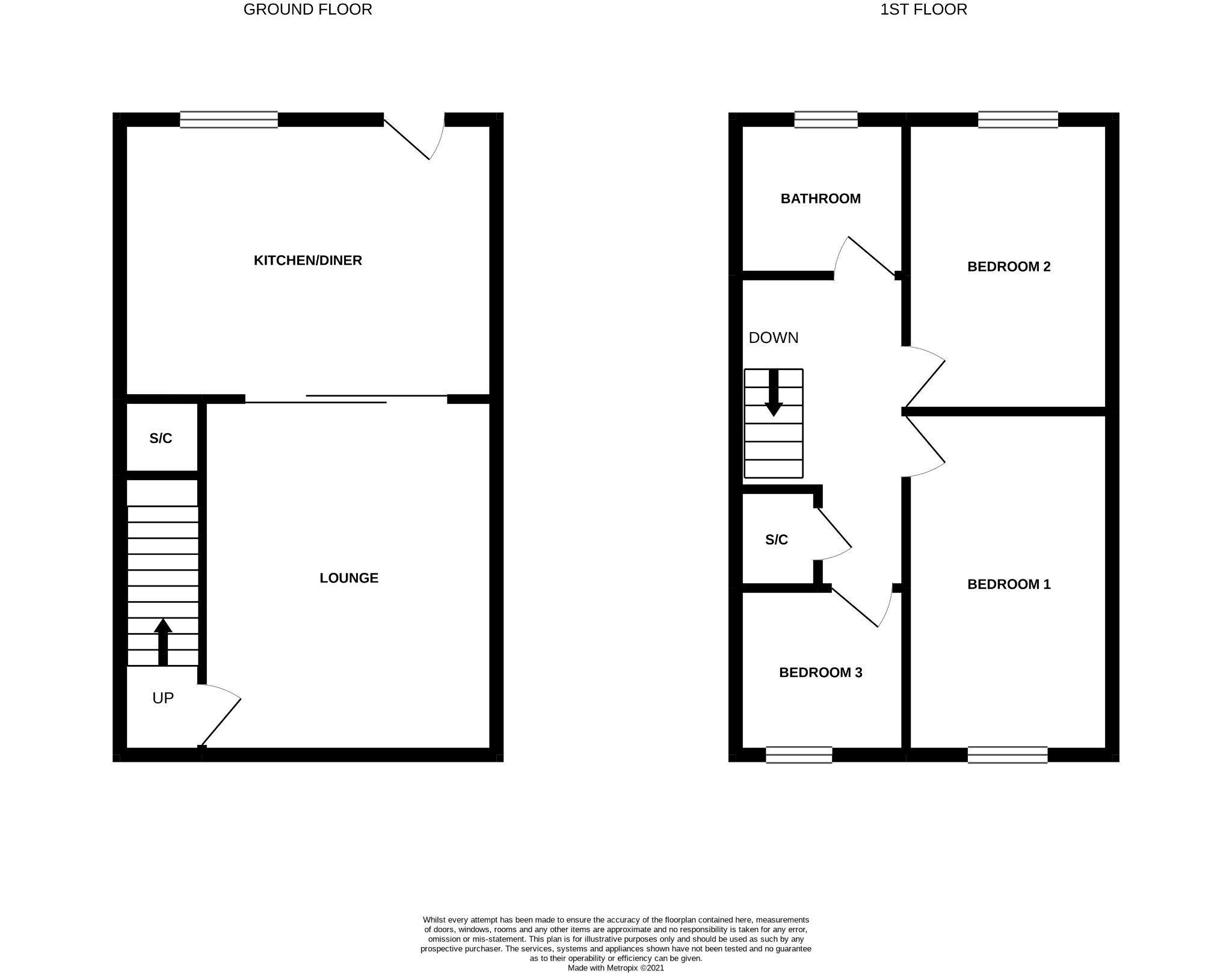 3 bedroom mid terraced house For Sale in Bishop Auckland - Floorplan 1.