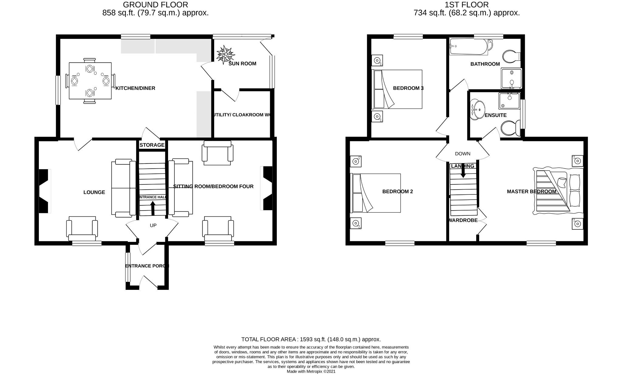 4 bedroom detached house Sale Agreed in Crook - Floorplan 1.