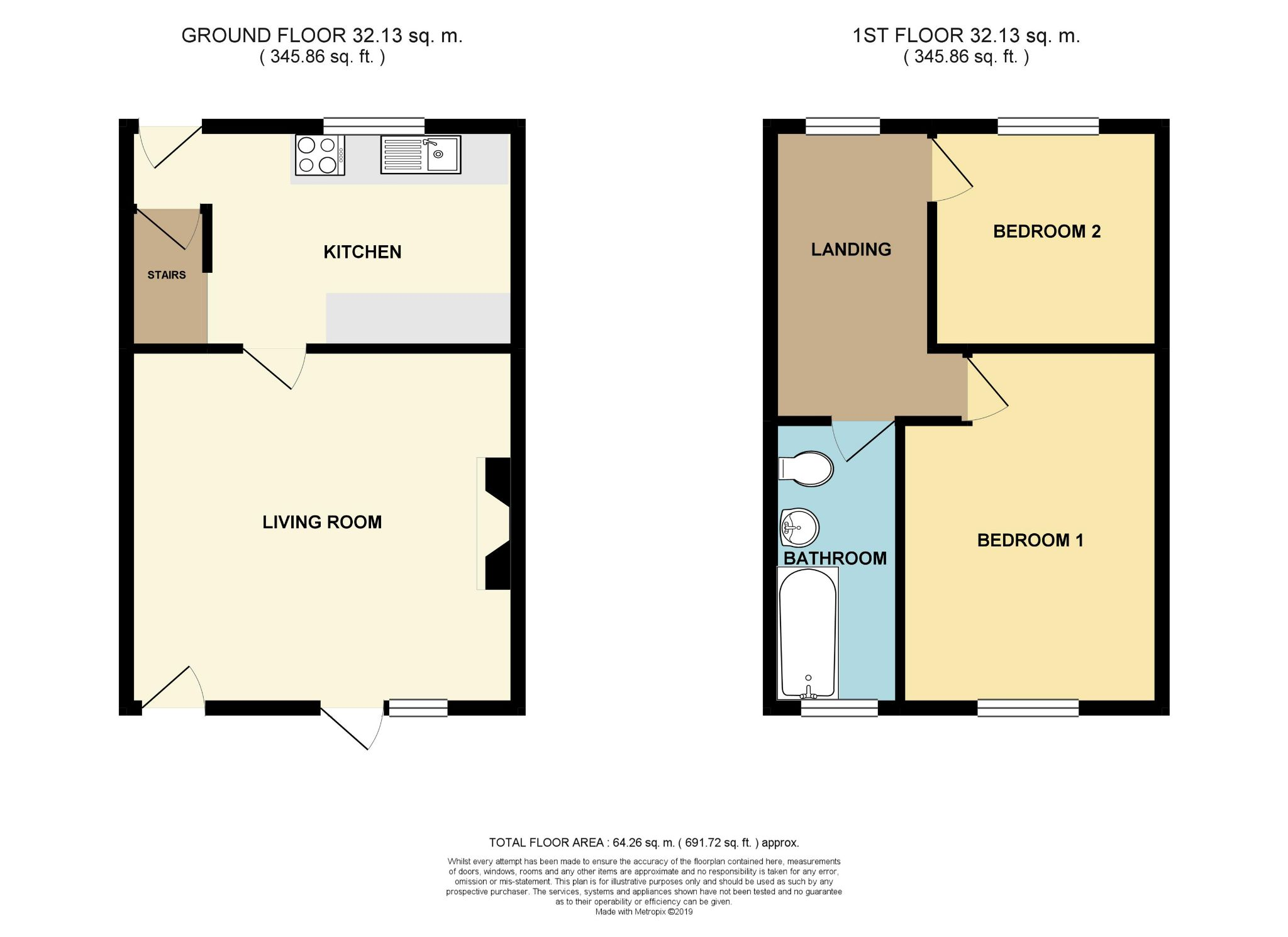2 bedroom end terraced house For Sale in Brighouse - Floorplan 1