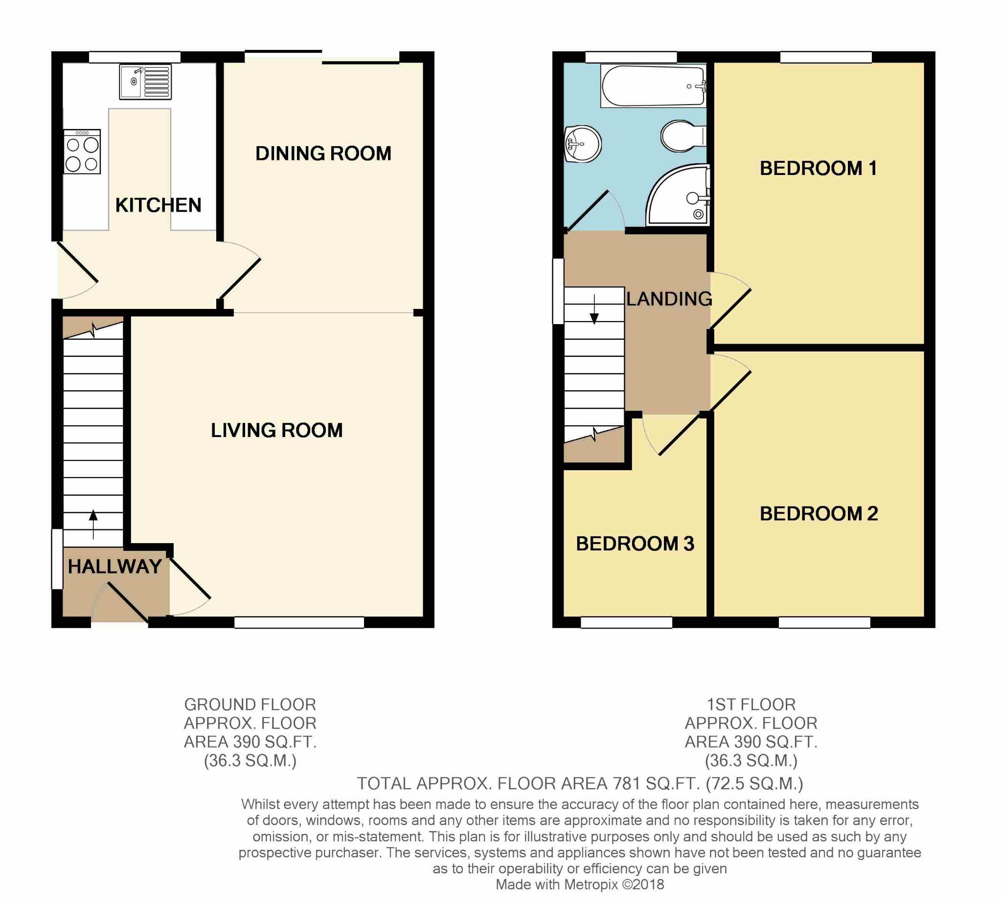 3 bedroom semi-detached house SSTC in Huddersfield - Floorplan 1