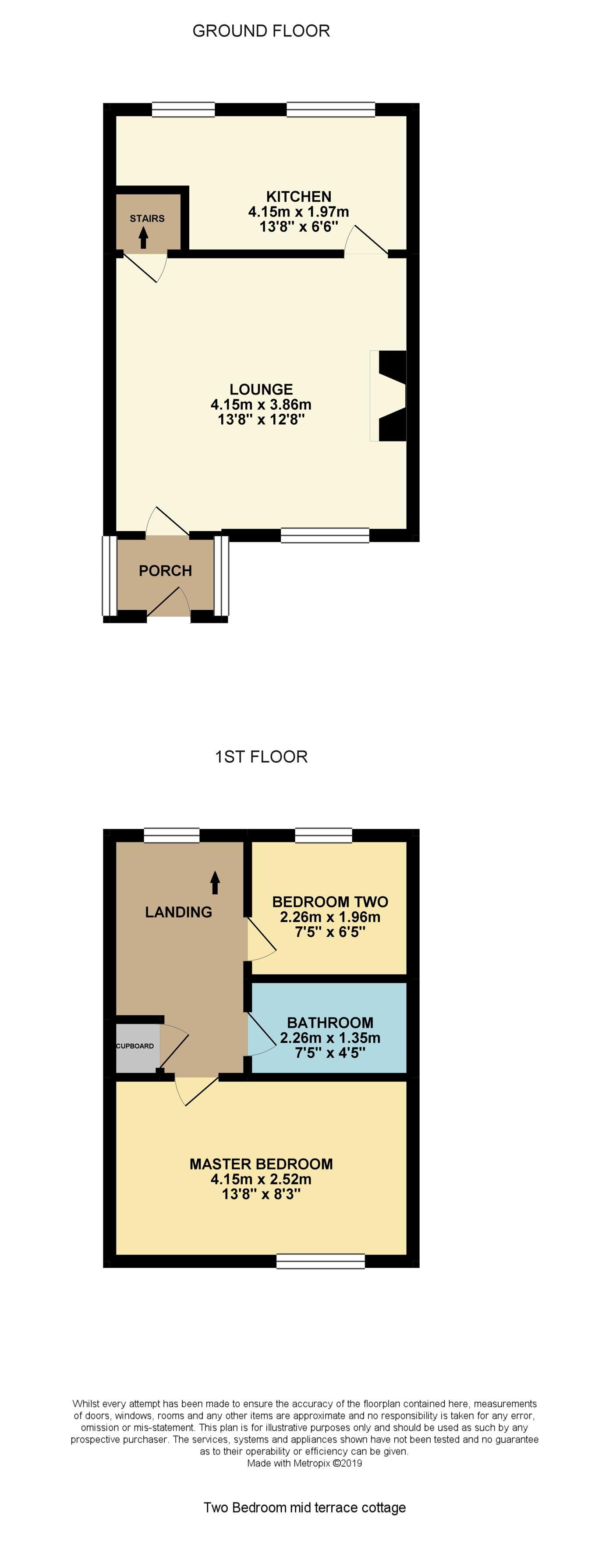 2 bedroom cottage house To Let in Wakefield - Floorplan 1