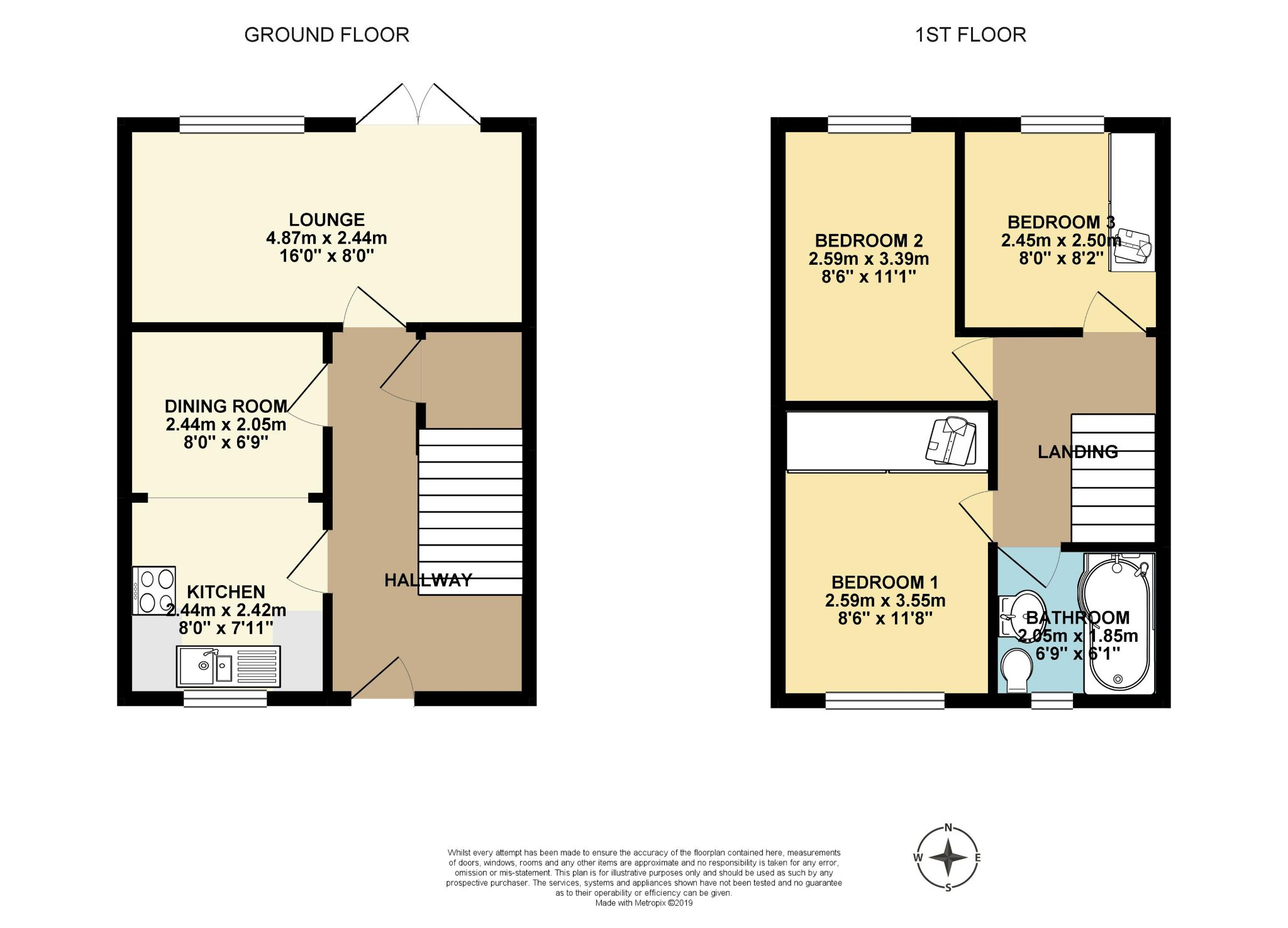 3 bedroom mid terraced house Let Agreed in Brighouse - Floor Plan