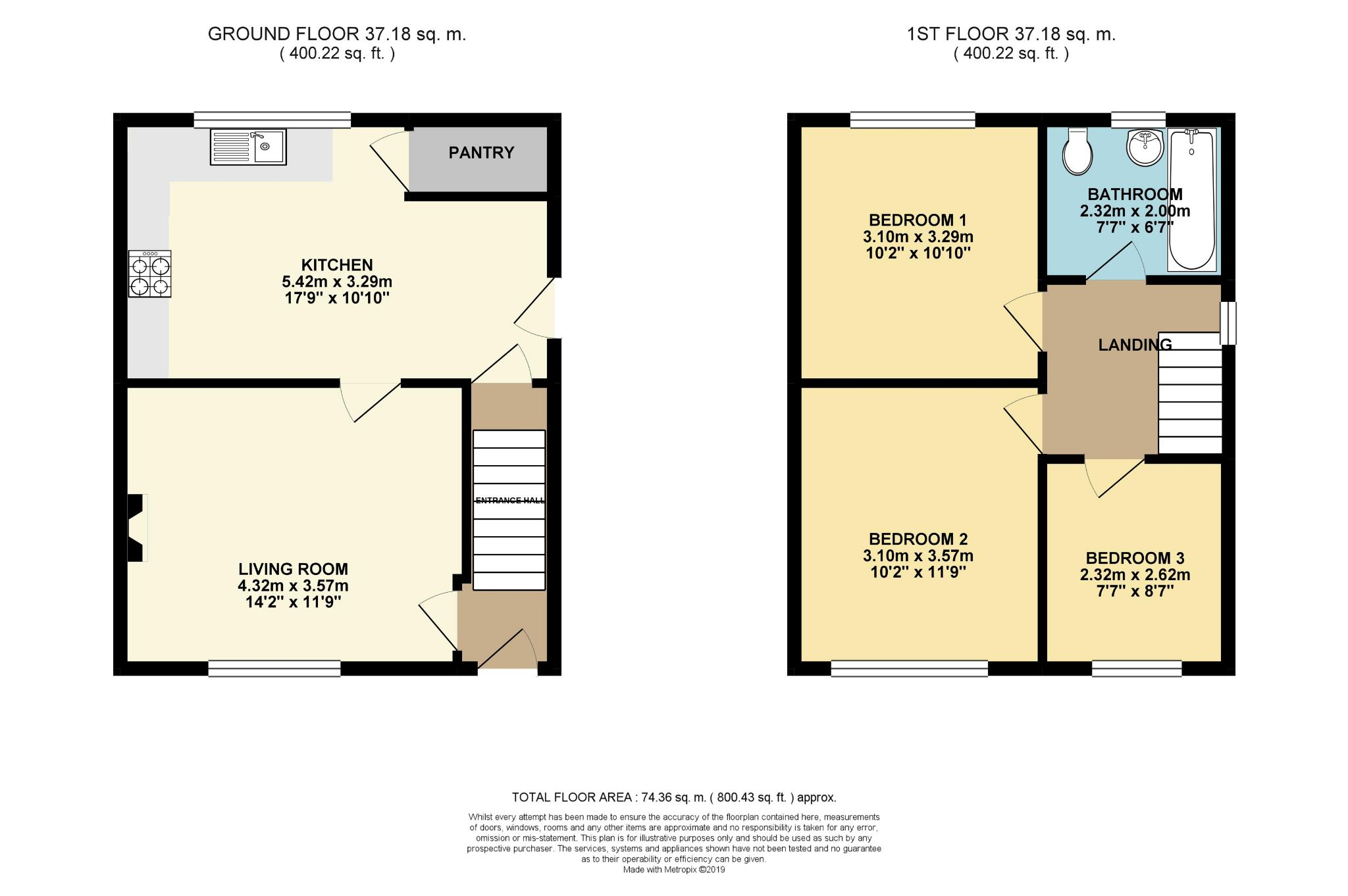 3 bedroom semi-detached house SSTC in Brighouse - Floorplan 1