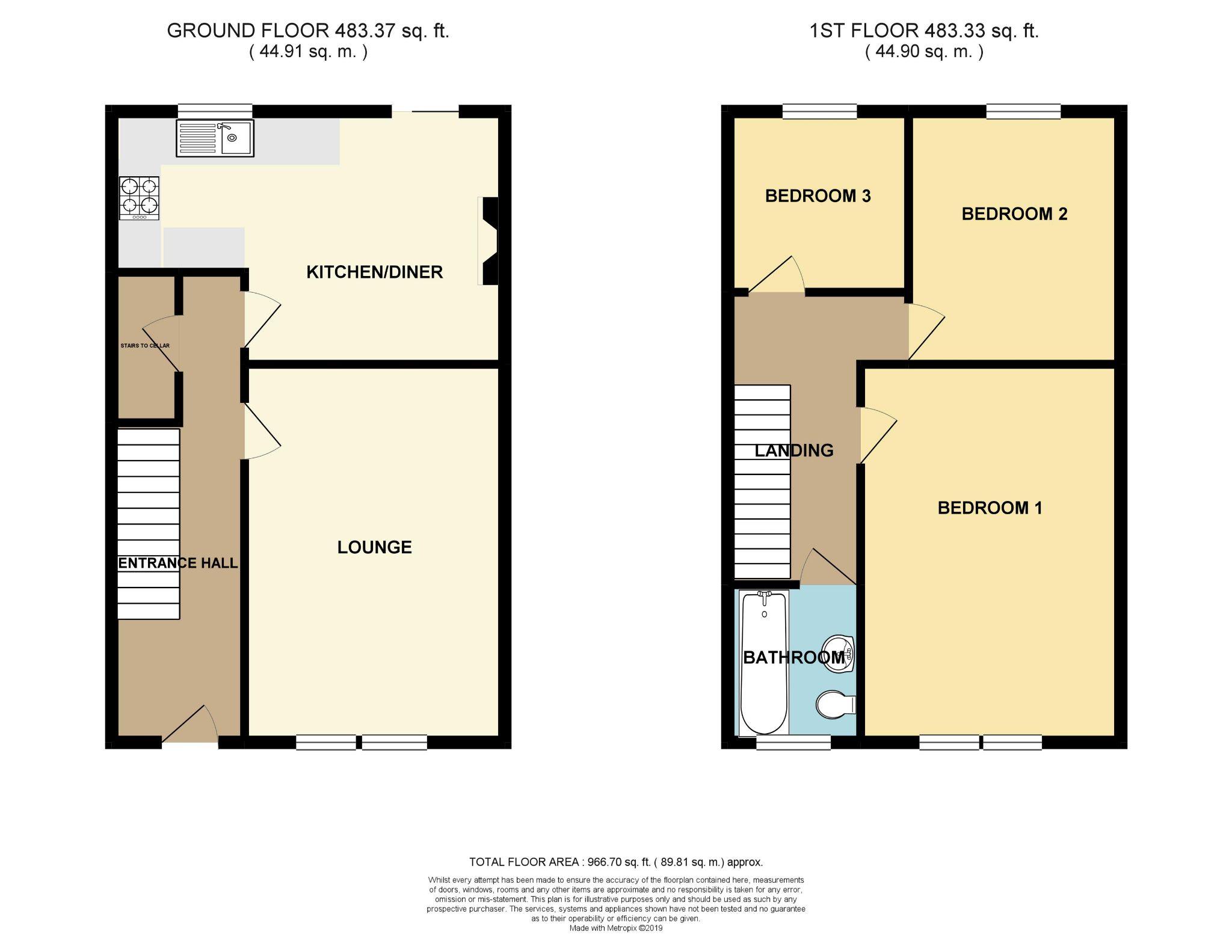 3 bedroom mid terraced house SSTC in Bradford - Floorplan 1