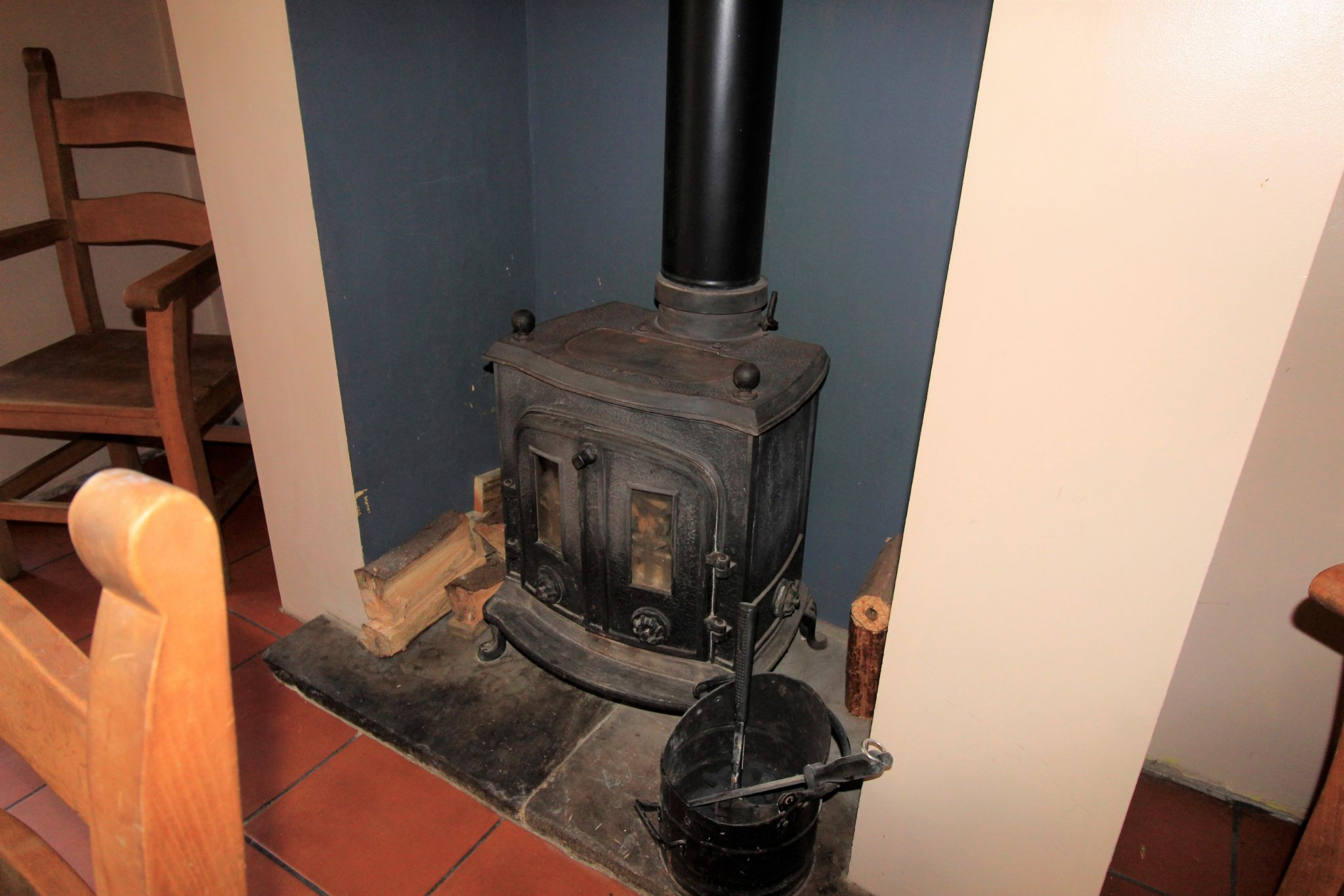 3 bedroom mid terraced house SSTC in Bradford - Multi fuel stove in dining room