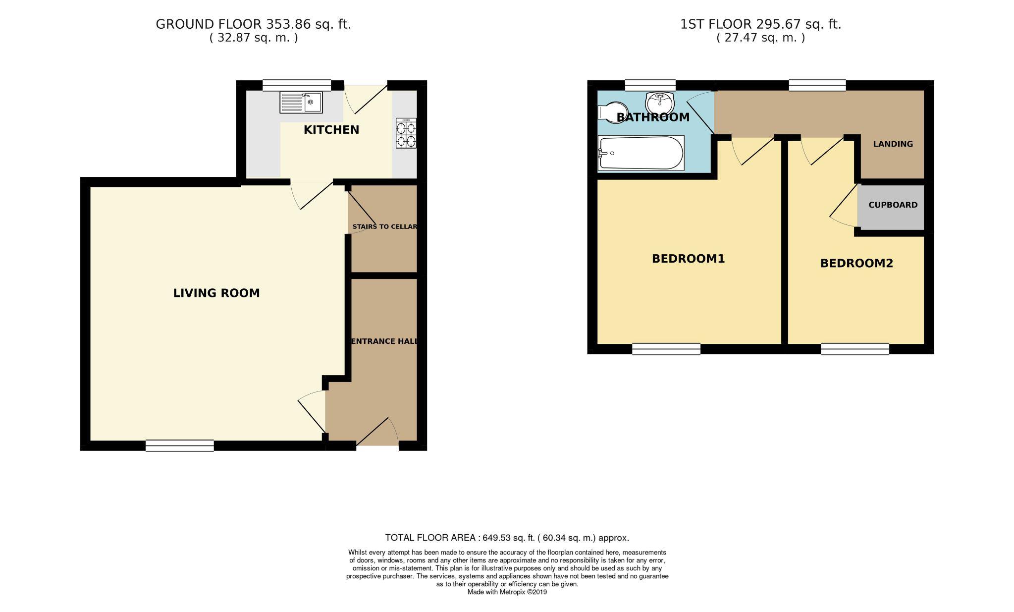 2 bedroom cottage house SSTC in Huddersfield - Floorplan 1
