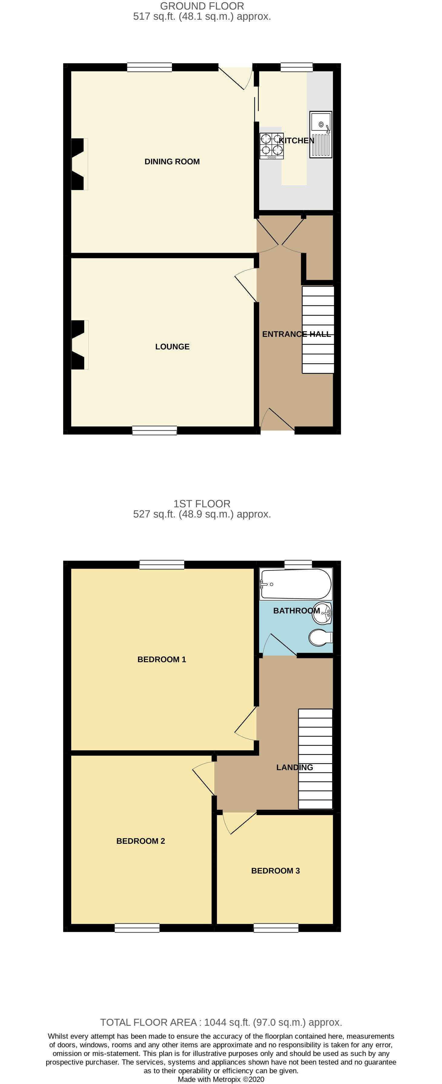 3 bedroom semi-detached house Sale Agreed in Huddersfield - Floorplan 1
