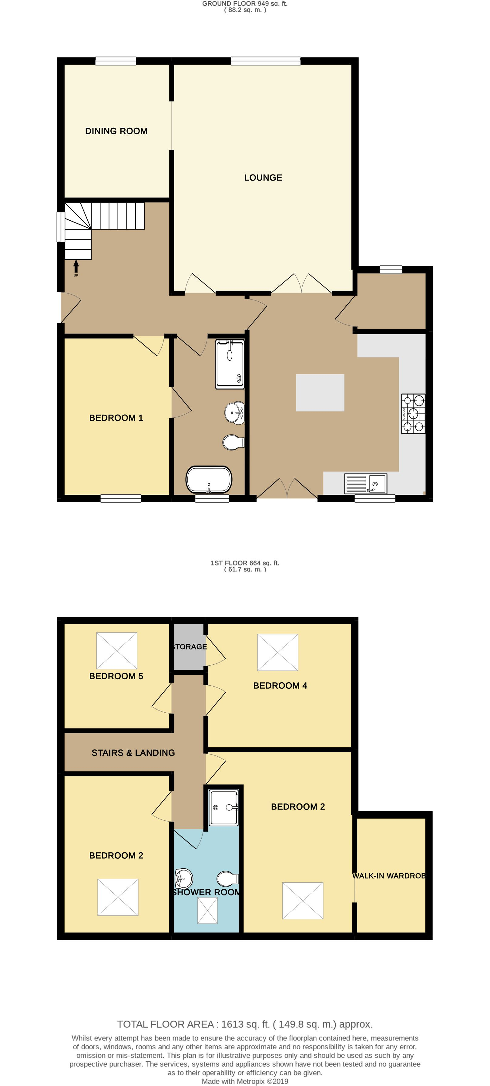 5 bedroom detached house For Sale in Brighouse - Floorplan 1
