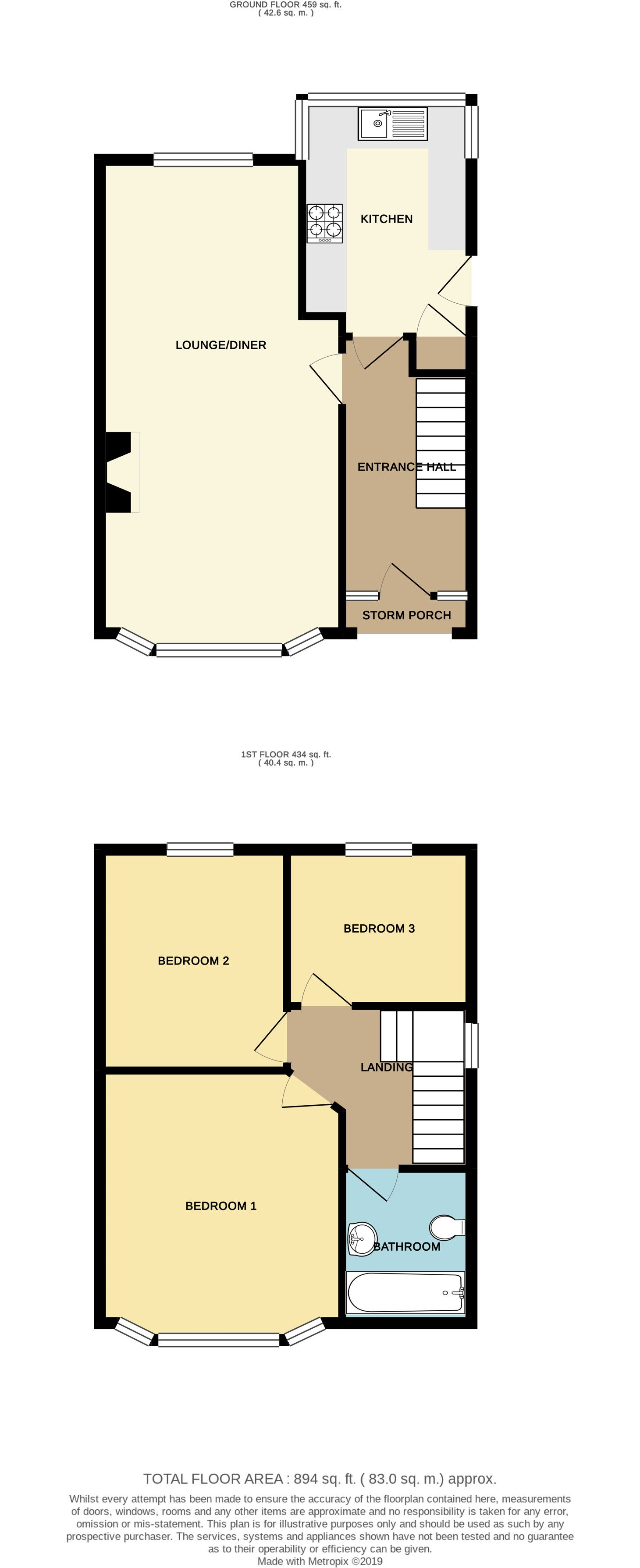 3 bedroom semi-detached house For Sale in Brighouse - Floorplan 1