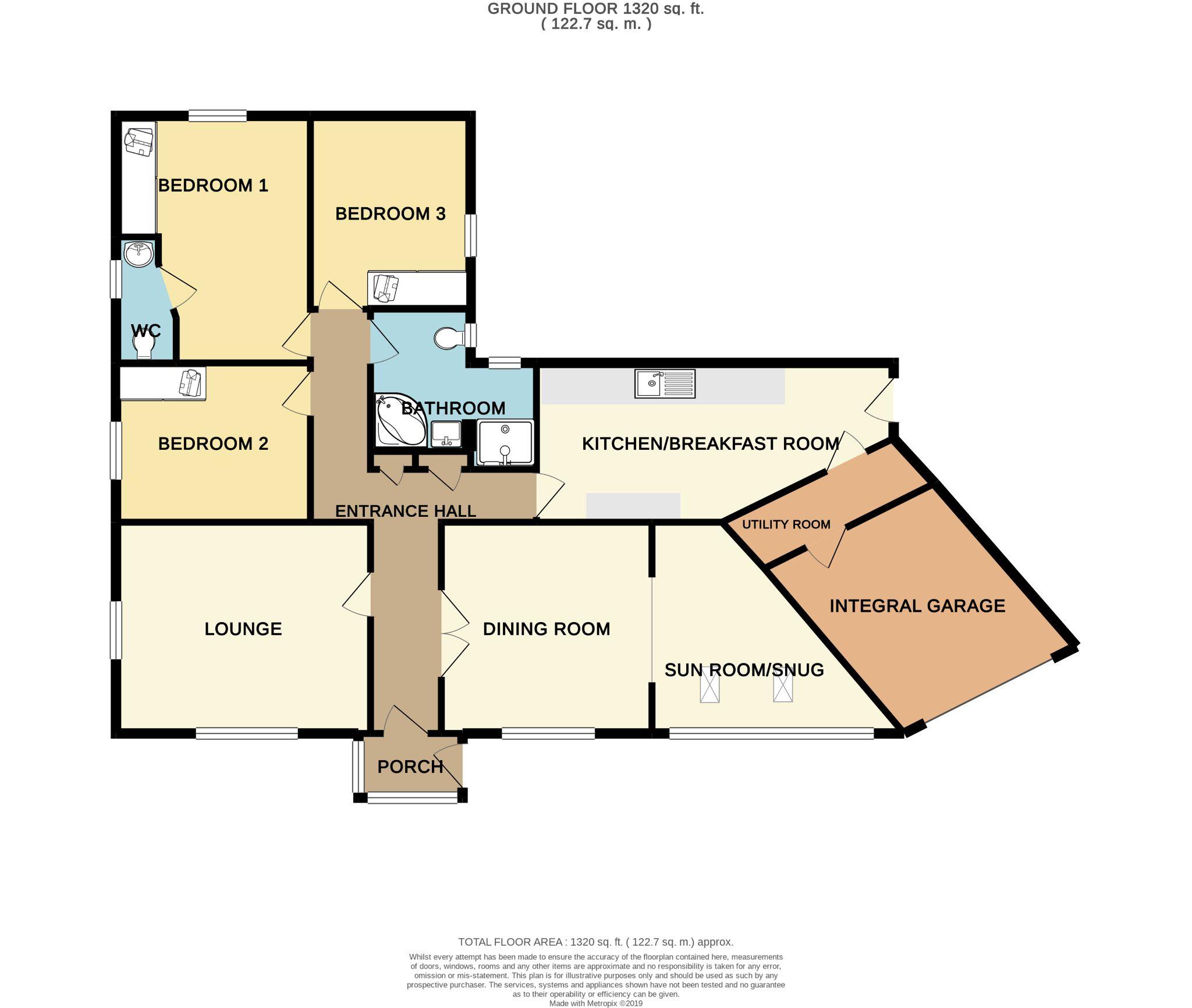 3 bedroom detached bungalow For Sale in Hove Edge - Floorplan 1
