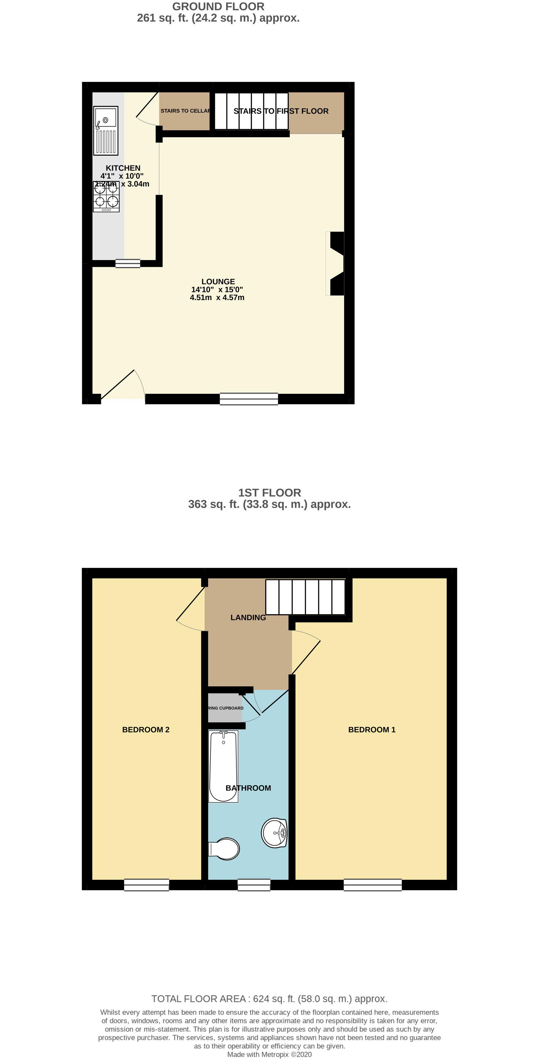 2 bedroom mid terraced house Sale Agreed in Brighouse - Floorplan 1