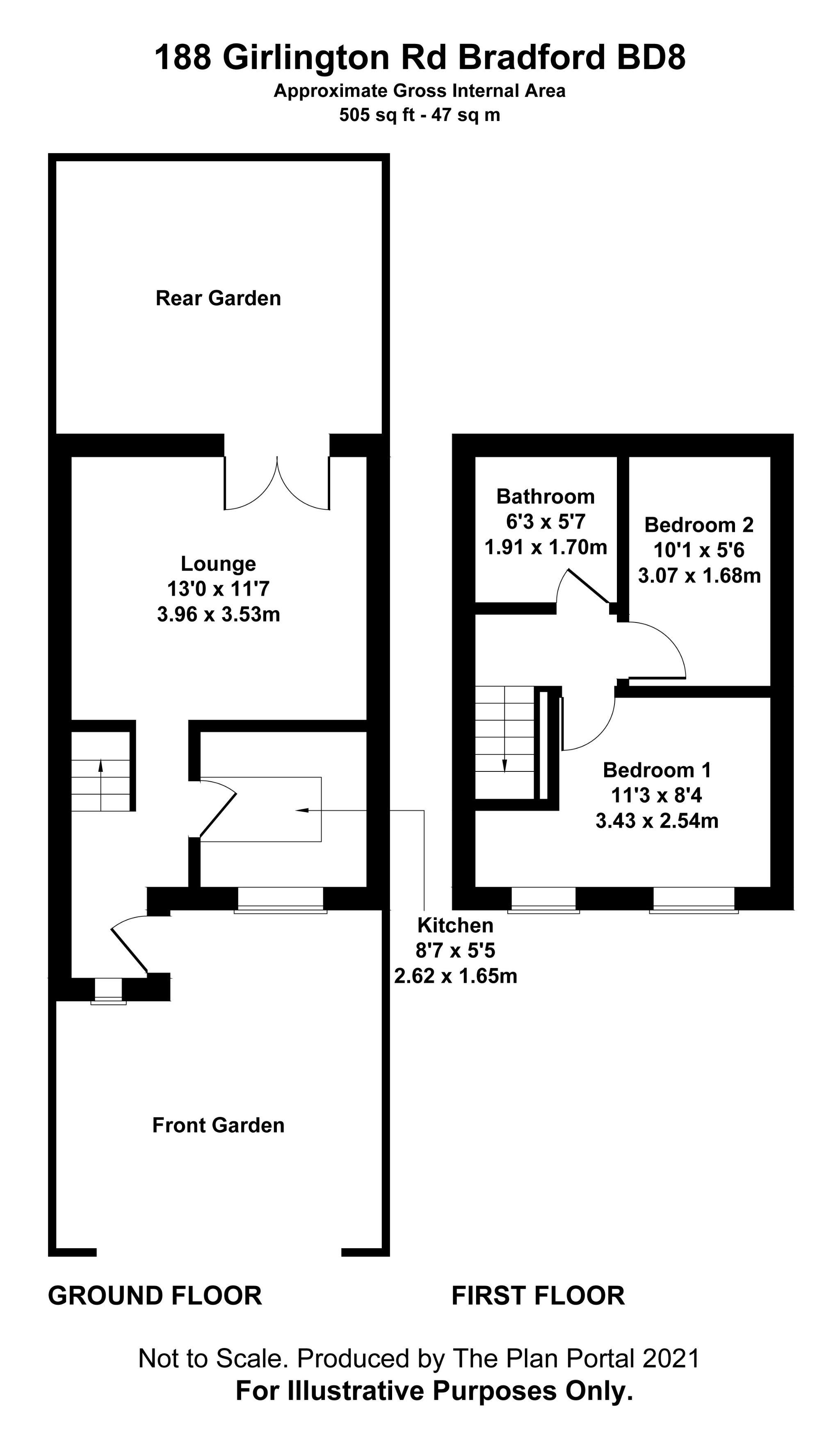 2 bedroom mid terraced house For Sale in Bradford - Floorplan 1.