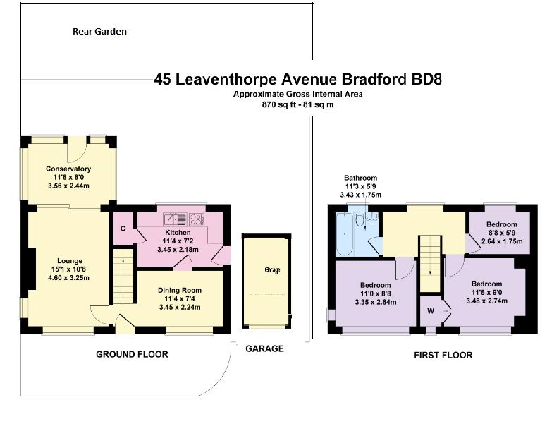 3 bedroom detached house Sold in Bradford - Floorplan 1.