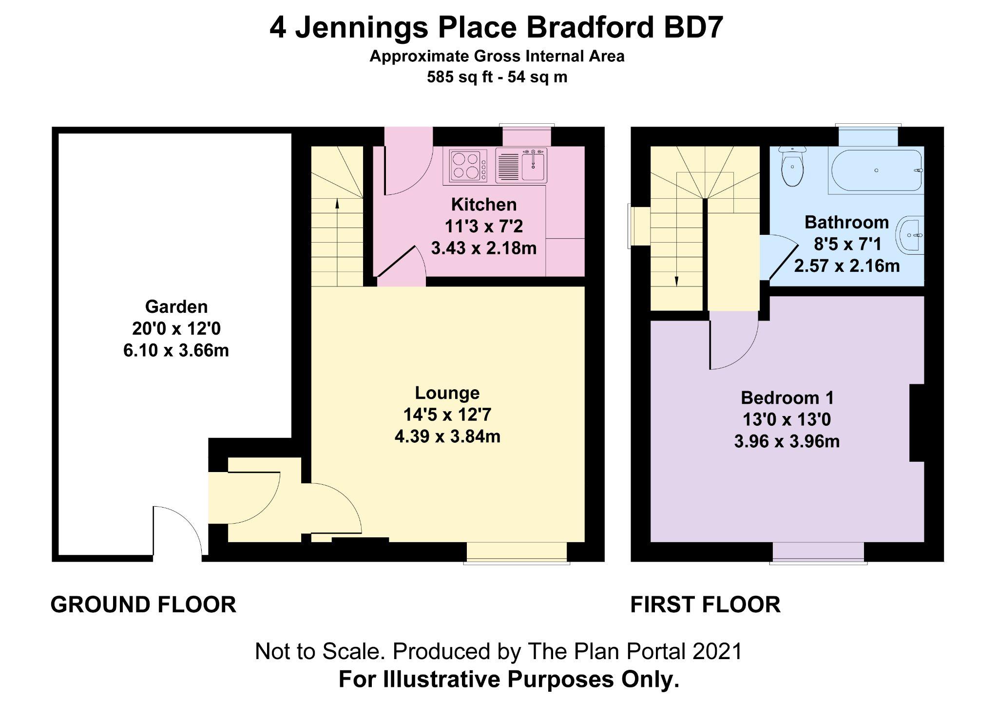 1 bedroom mid terraced house For Sale in Bradford - Floorplan 1.
