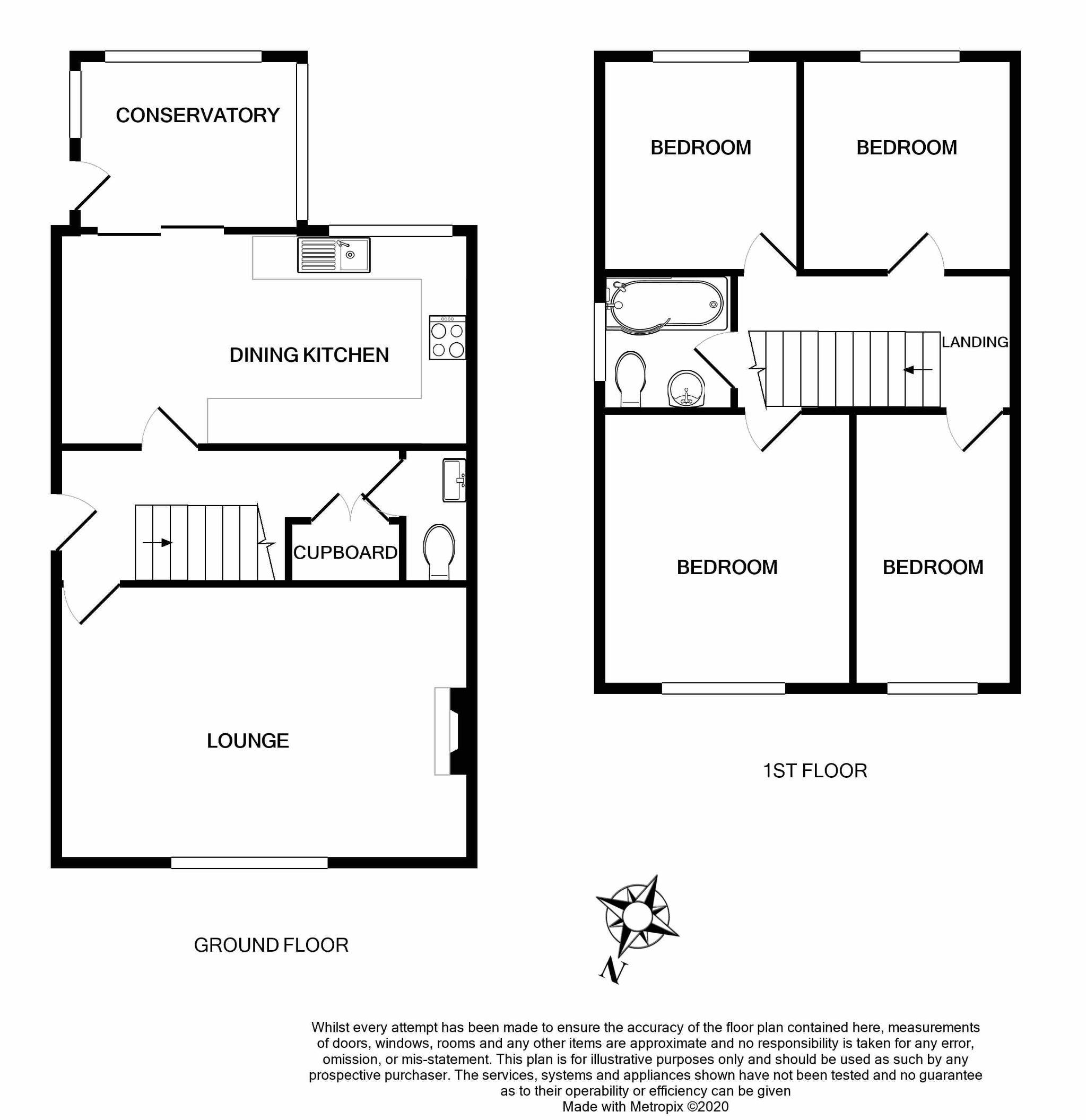 4 bedroom semi-detached house For Sale in Brighouse - Floorplan 1.