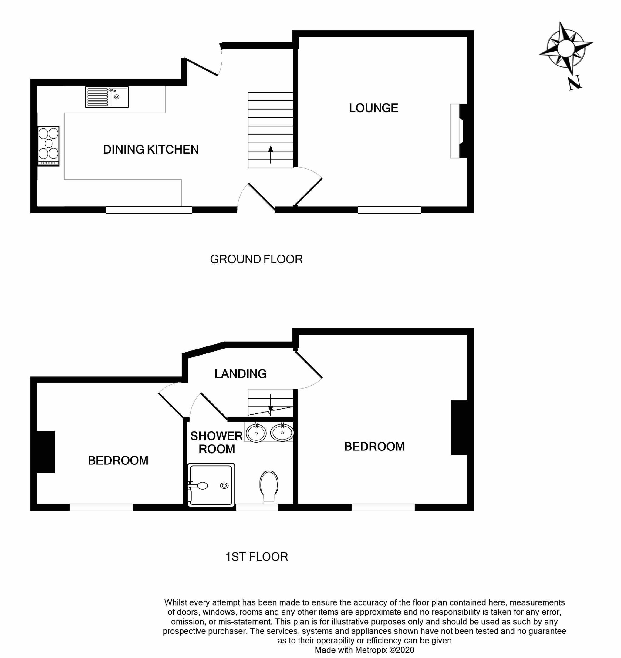 2 bedroom end terraced house SSTC in Brighouse - Floorplan 1.