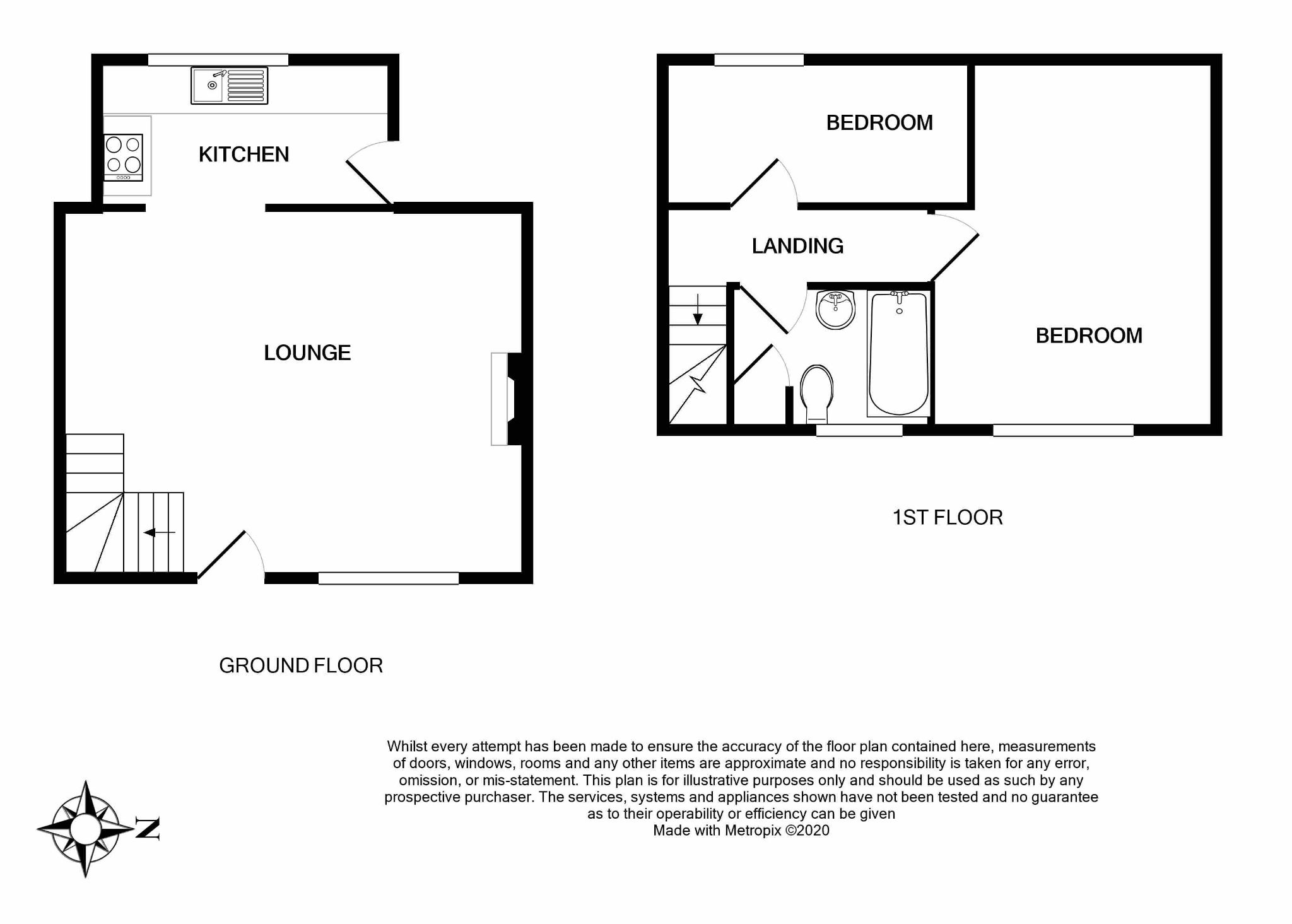 2 bedroom mid terraced house For Sale in Brighouse - Floorplan 1.