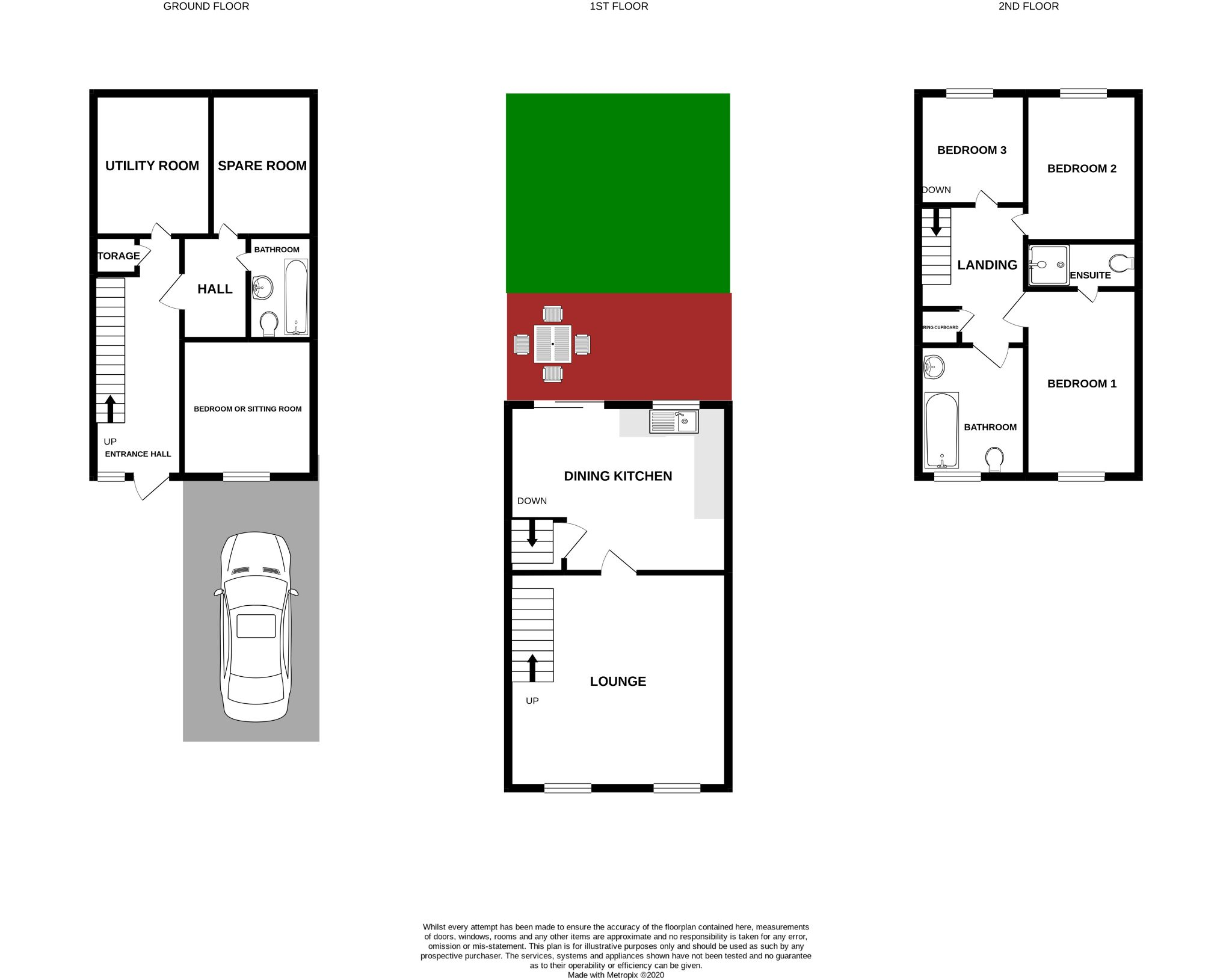4 bedroom town house For Sale in Brighouse - Floorplan 1.