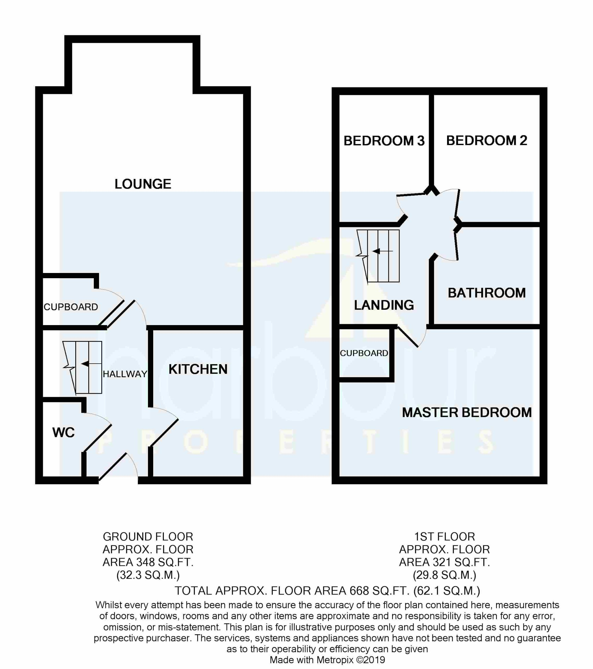3 bedroom mid terraced house For Sale in Preston - Floorplan 1