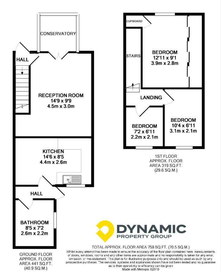 3 bedroom end terraced house For Sale in Willington And Hunwick - Floorplan 1.