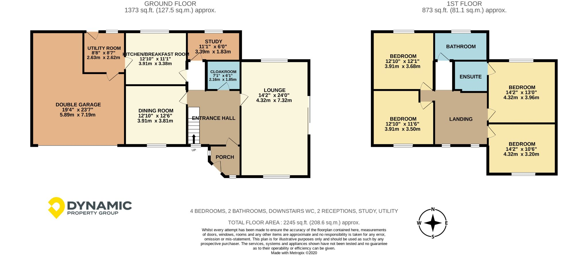 4 bedroom detached house For Sale in Willington - Floorplan 1.