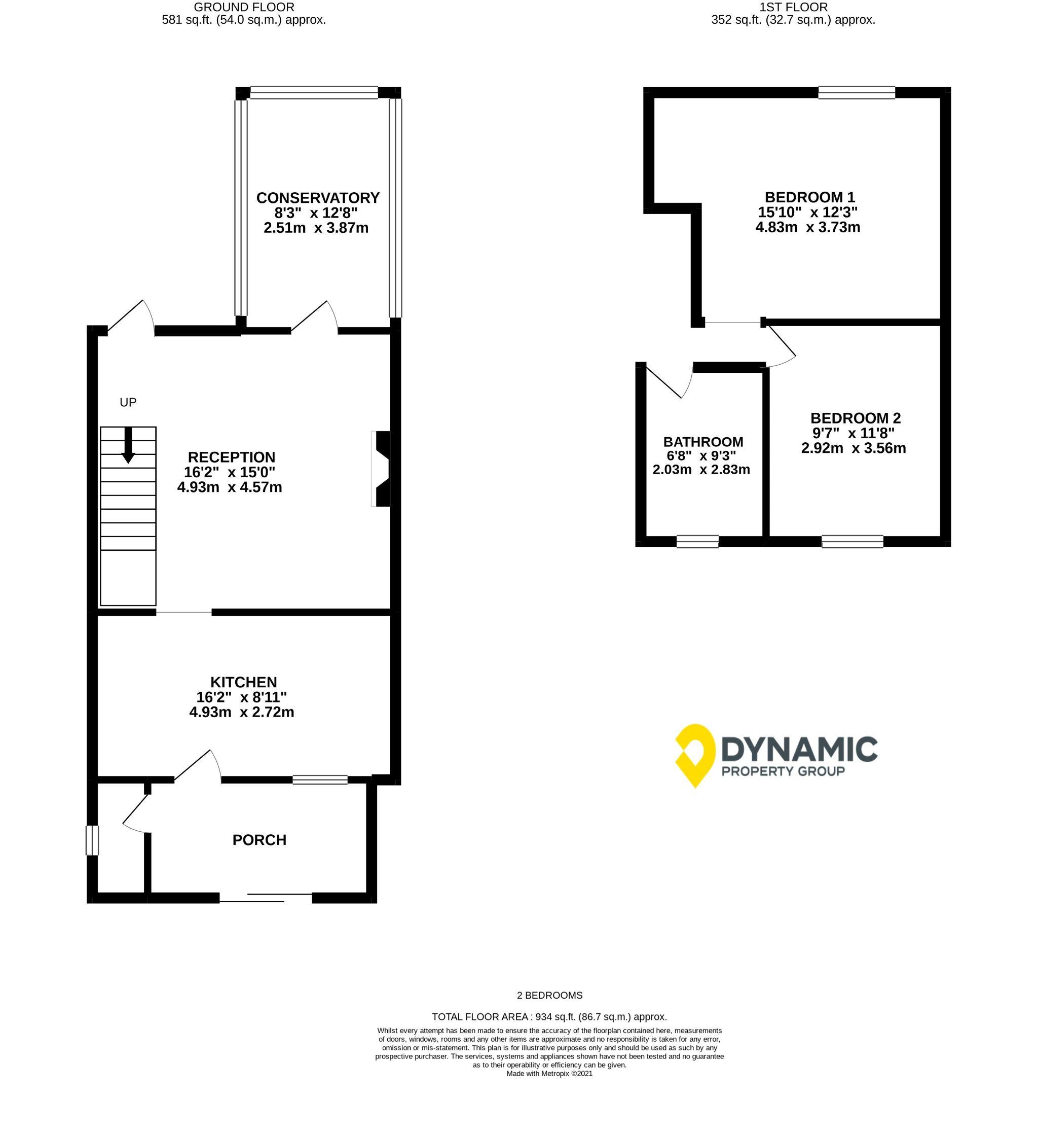 2 bedroom mid terraced house For Sale in Bishop Auckland - Floorplan 1.