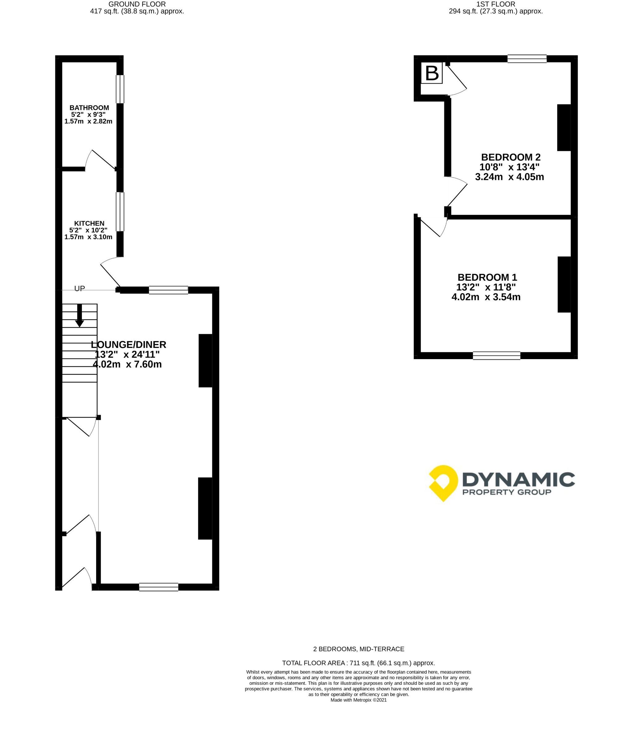 2 bedroom mid terraced house Let Agreed in Bishop Auckland - Floorplan 1.