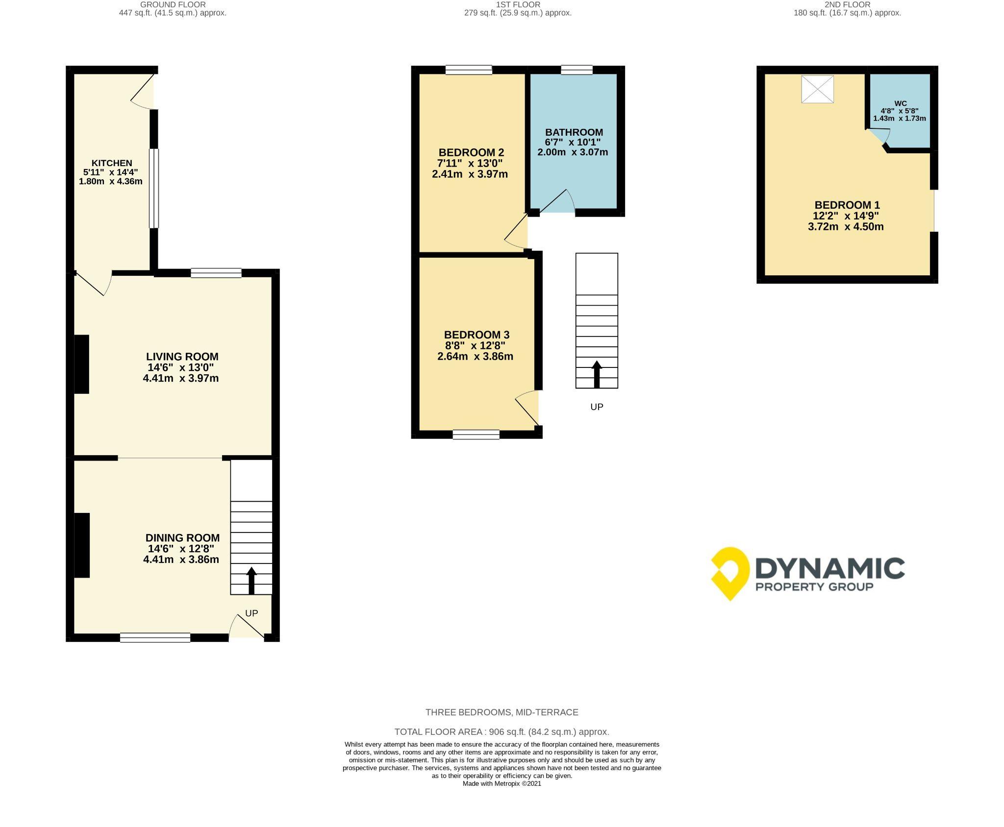 3 bedroom mid terraced house Sale Agreed in Roddymoor - Floorplan 1.
