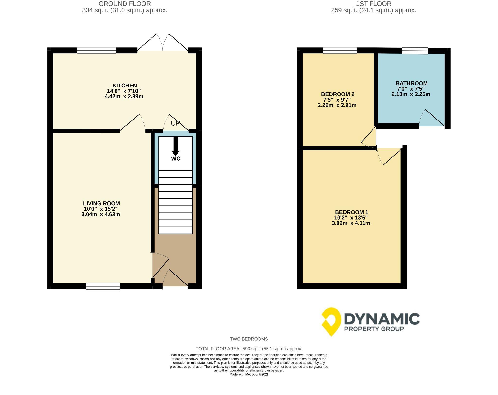 2 bedroom semi-detached house Sale Agreed in Crook - Floorplan 1.