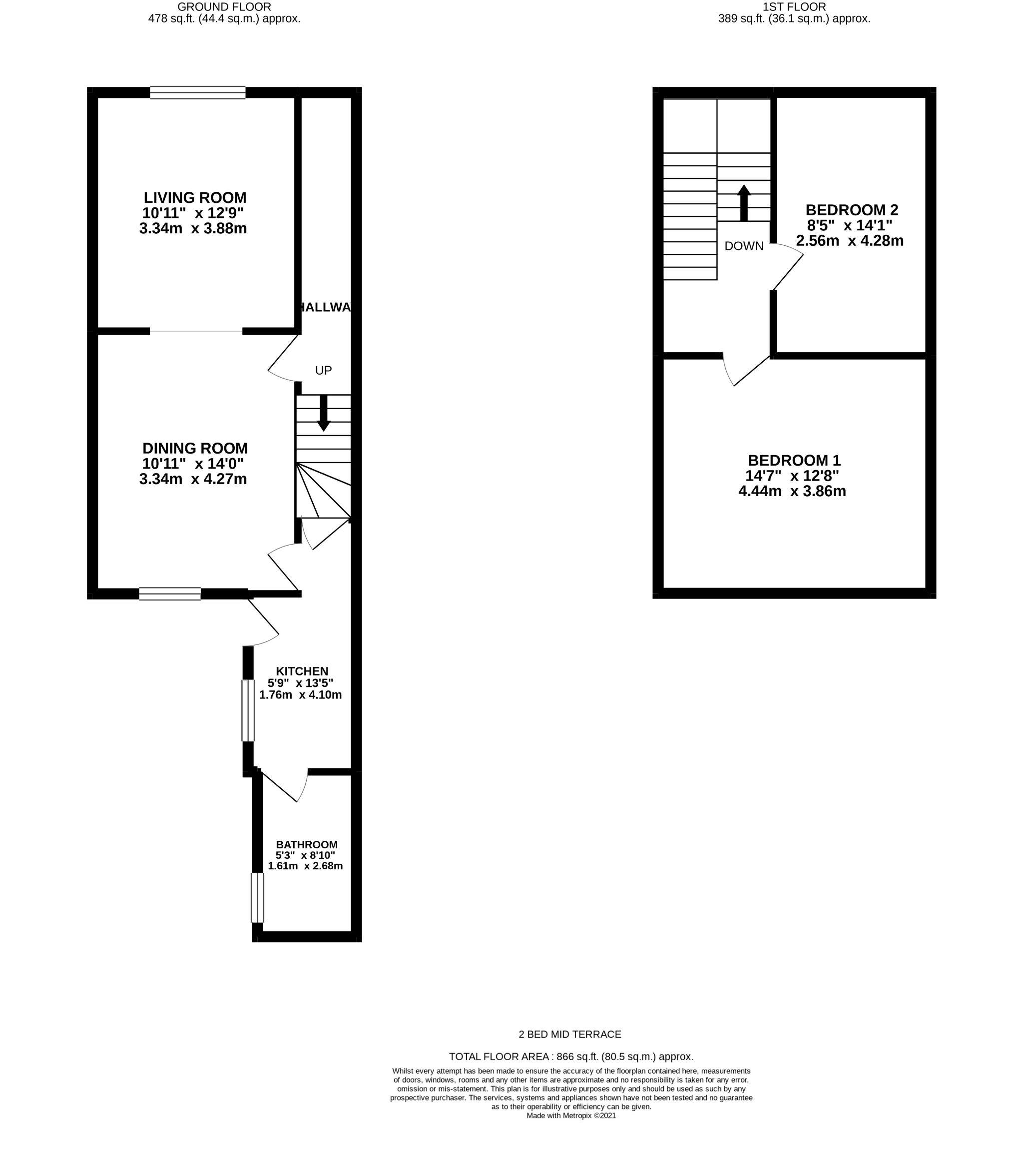 2 bedroom mid terraced house Let in Durham - Floorplan 1.