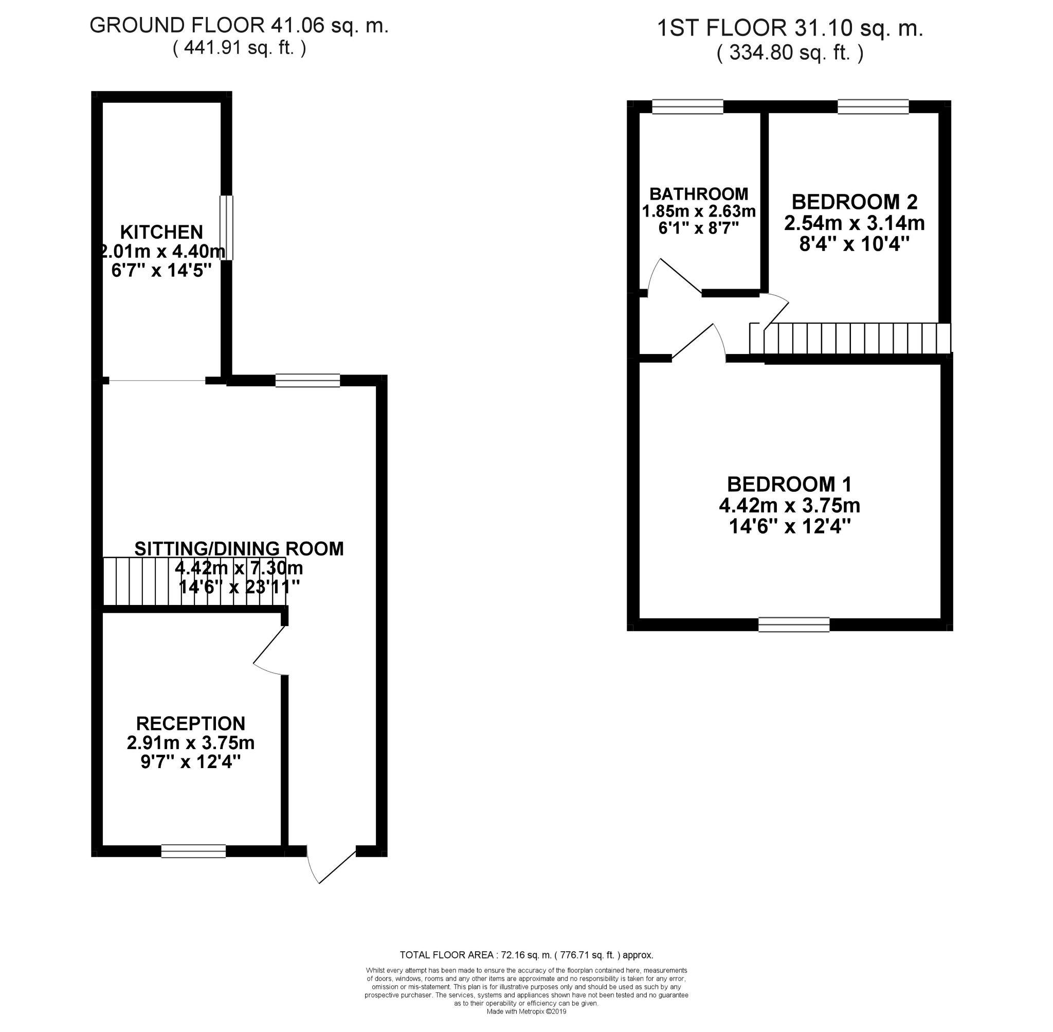 2 bedroom mid terraced house To Let in Bishop Auckland - Floorplan 1.