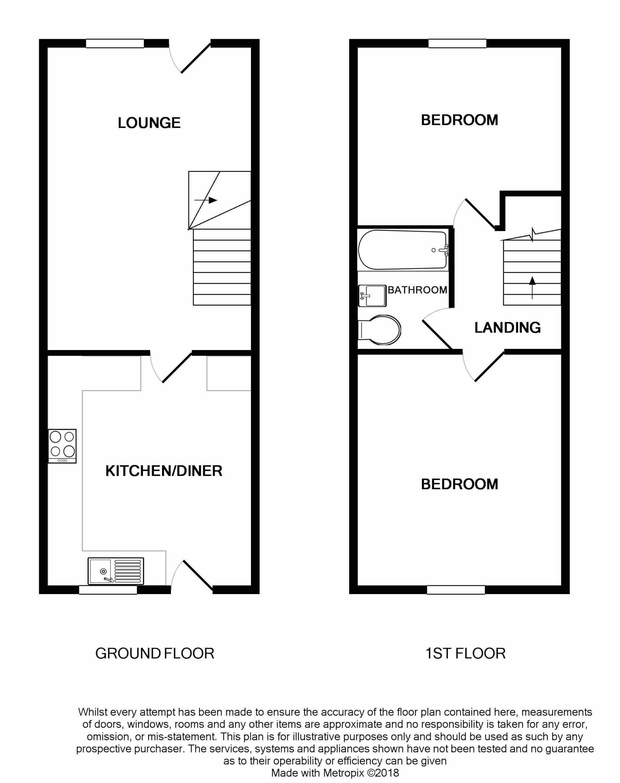 2 Bedroom Mid Terraced House For Sale - Floorplan 1