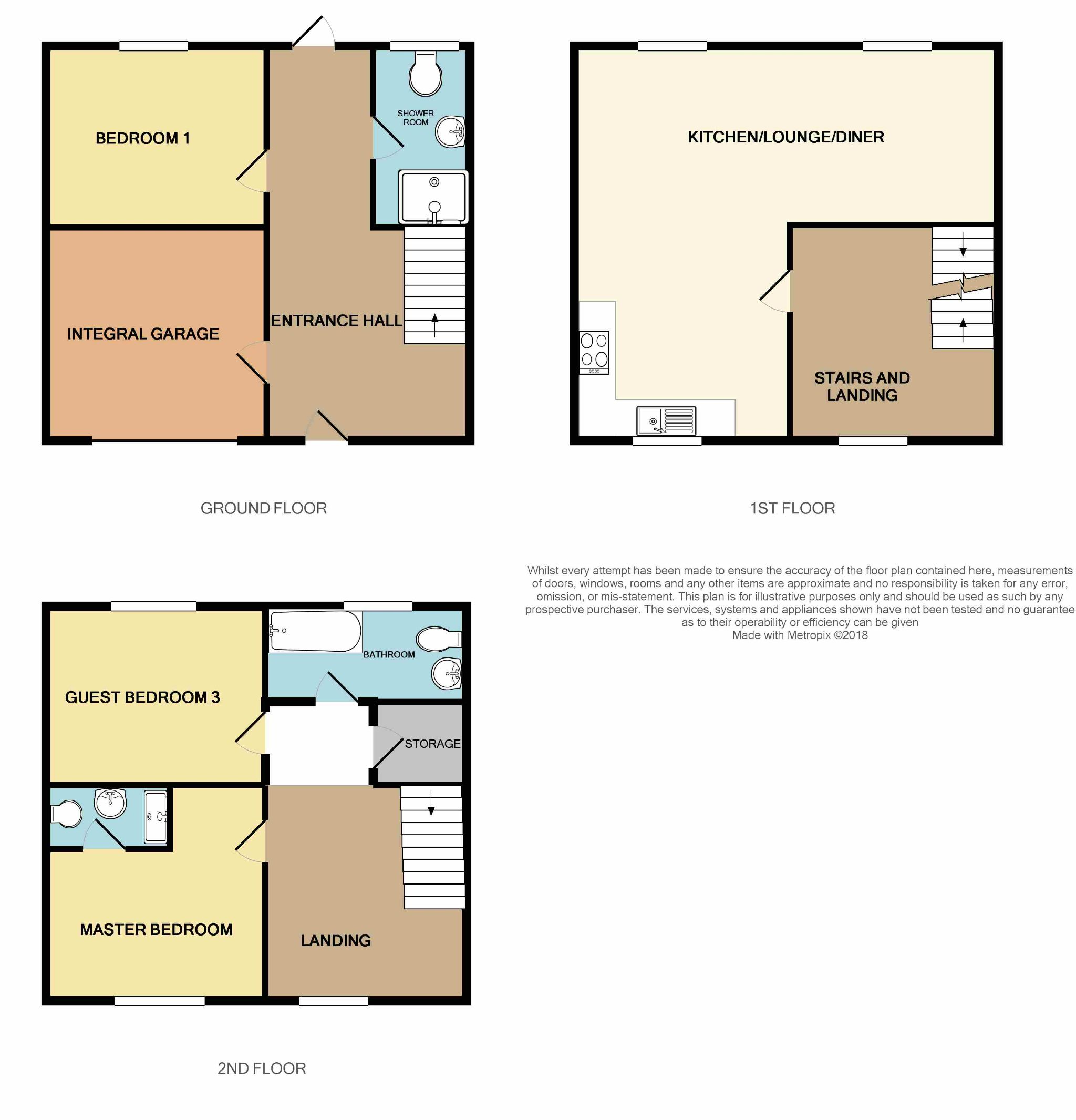 3 Bedroom Town House For Sale - Floorplan 1